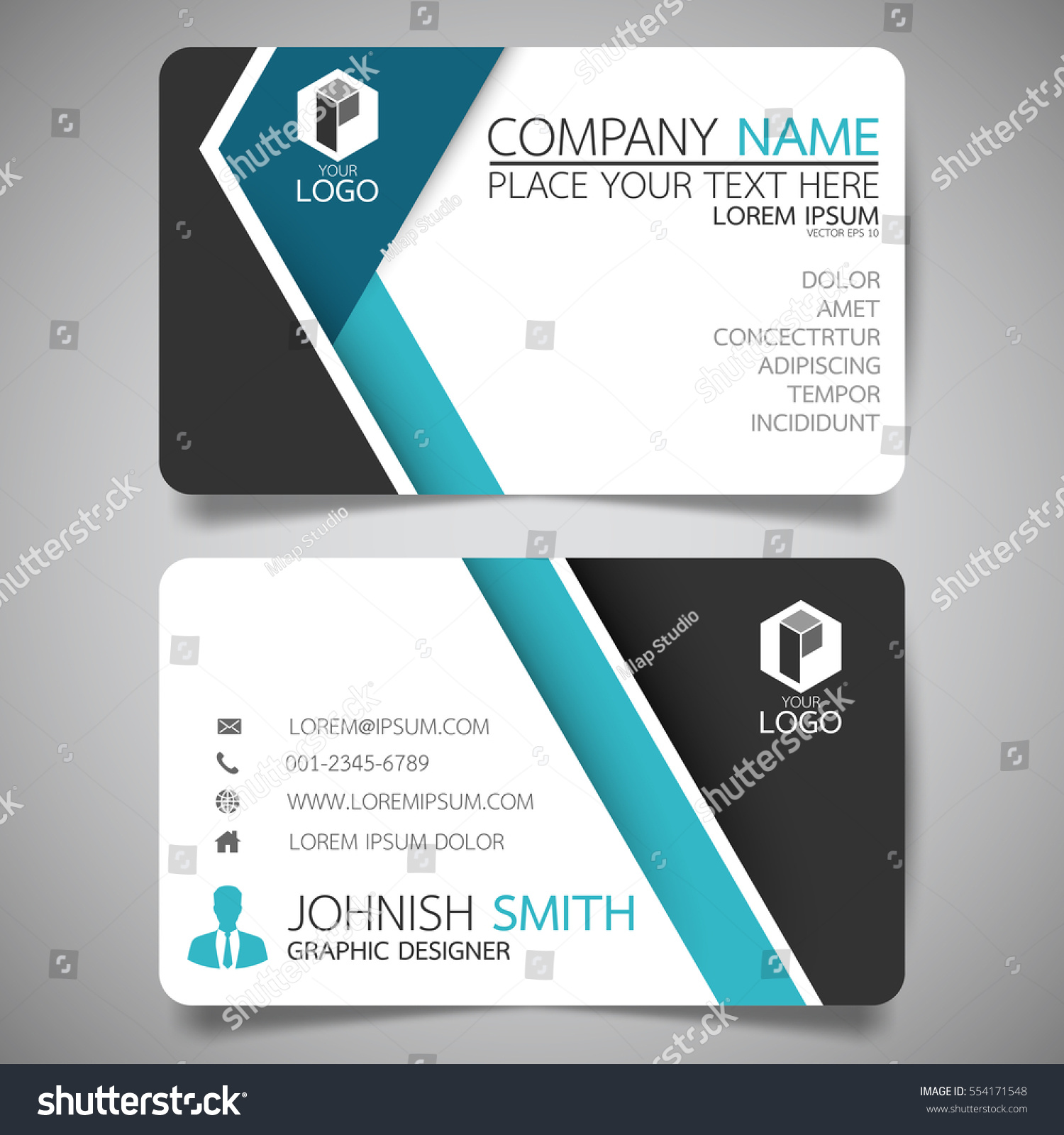 Blue modern creative business card name stock vector 554171548 blue modern creative business card and name cardhorizontal simple clean template vector design magicingreecefo Images