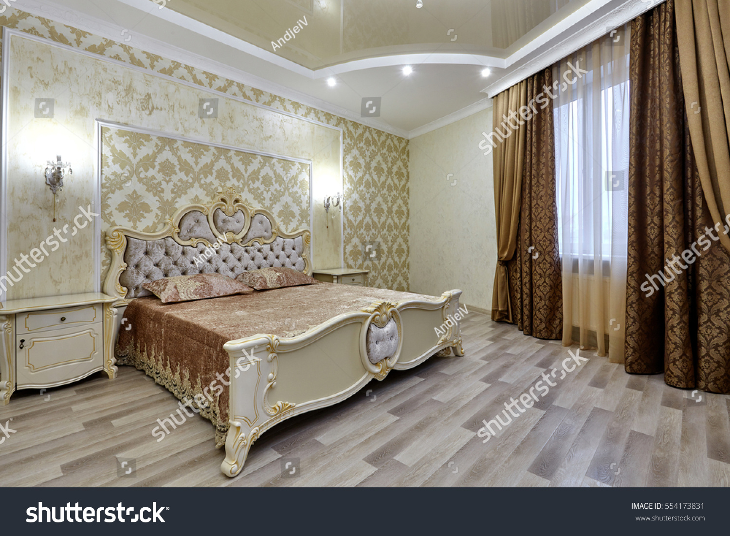 Bedroom beautiful interior stock photo 554173831 for Beautiful bedroom interior