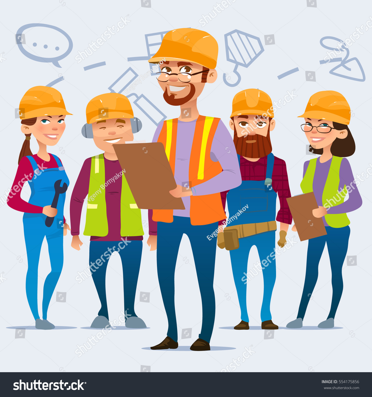 cartoon characters team home builders building stock vector