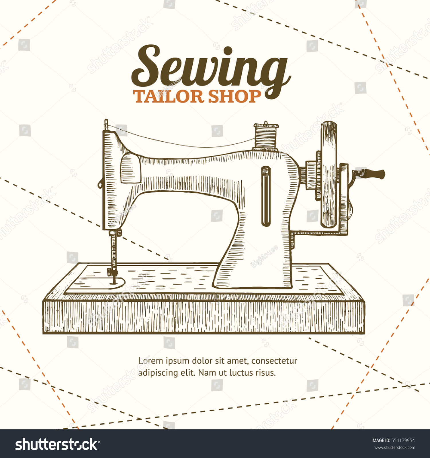 sewing machine banner card tailor shop stock vector hd royalty free