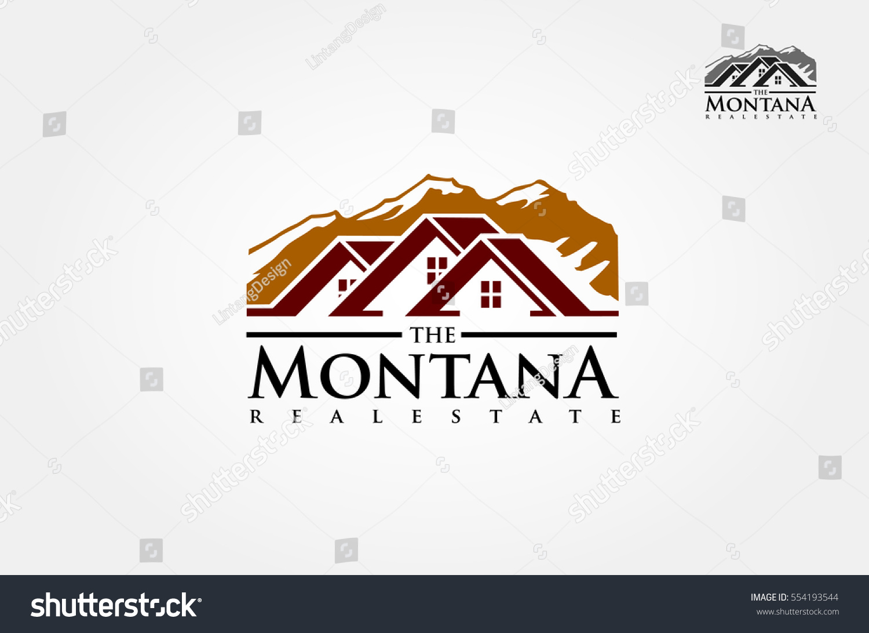 Logo Resort Mountains Real Estate Agency Stock Vector