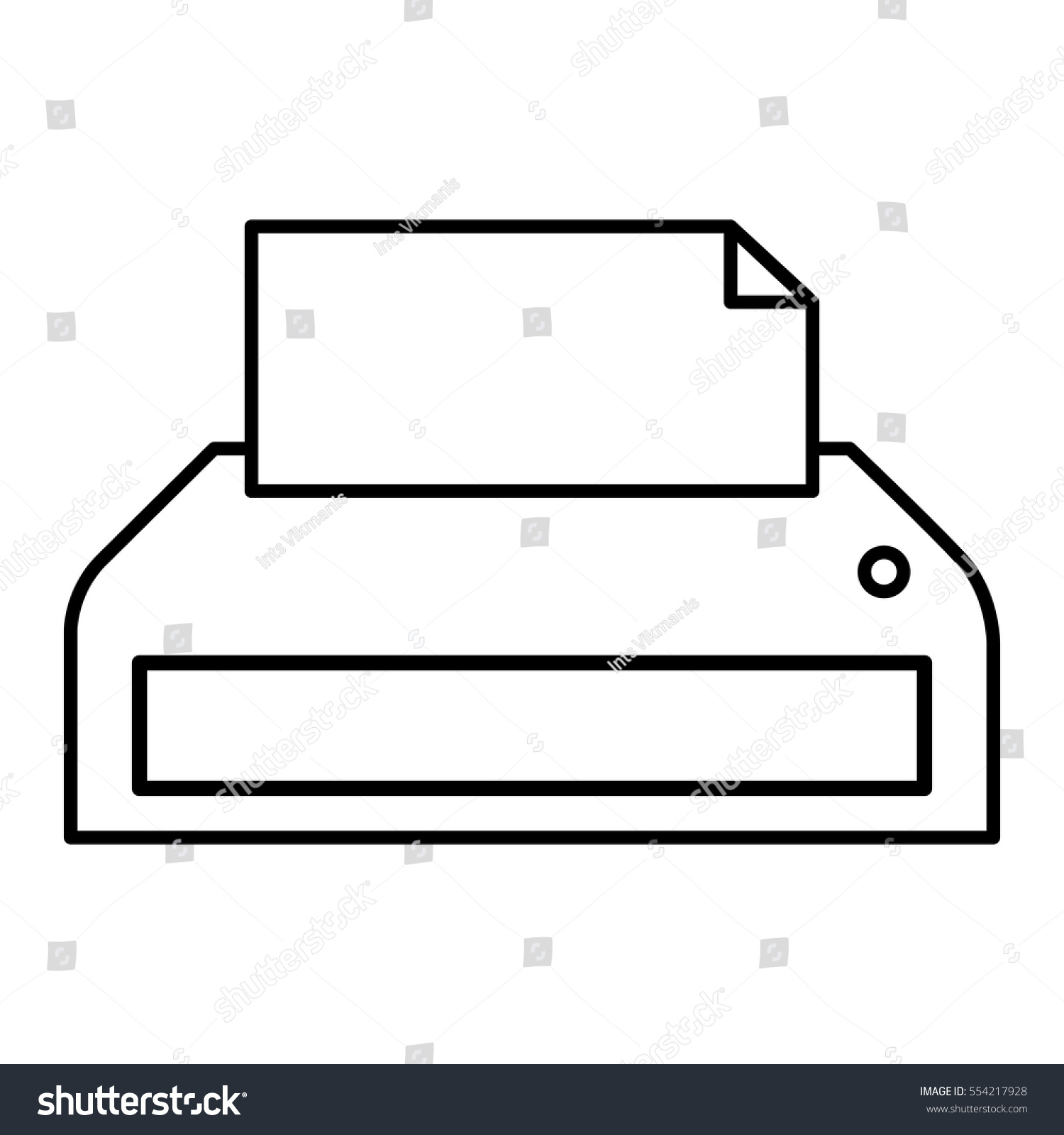 printer or fax machine with half printed page  linear vector illustration