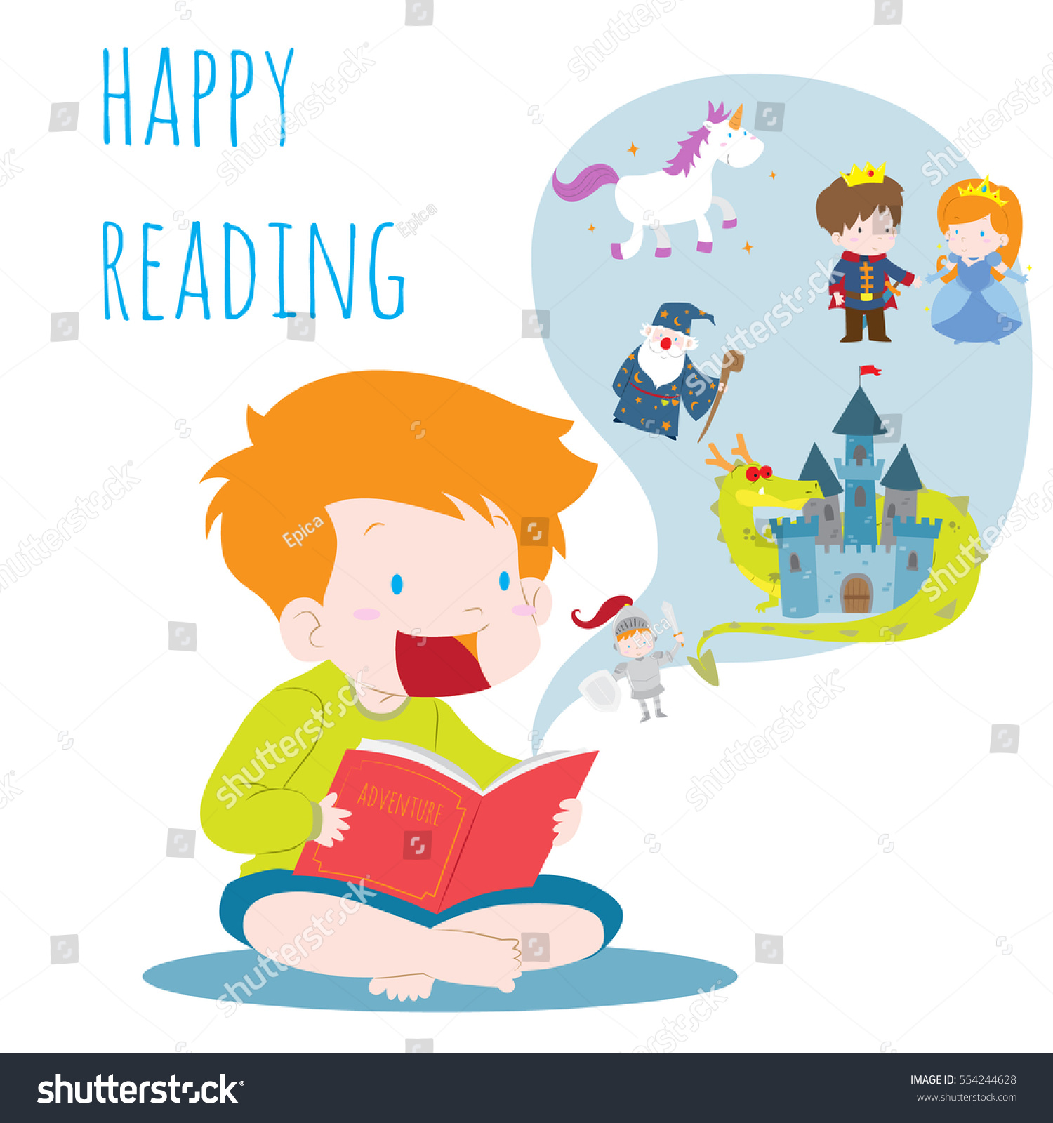 boy reading book imagination vector illustration stock