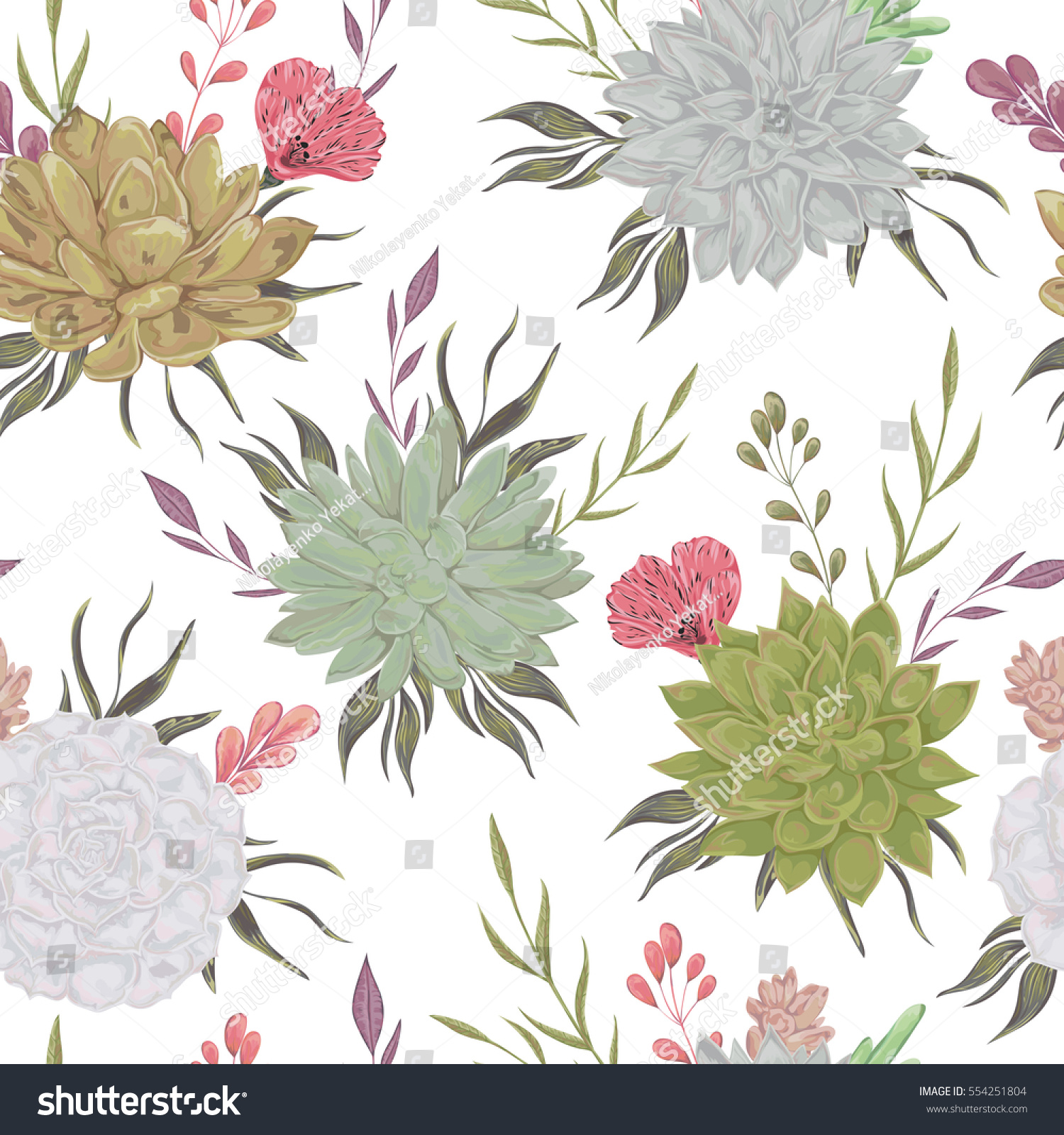 Seamless Pattern Succulents Floral Elements Rustic Stock Vector