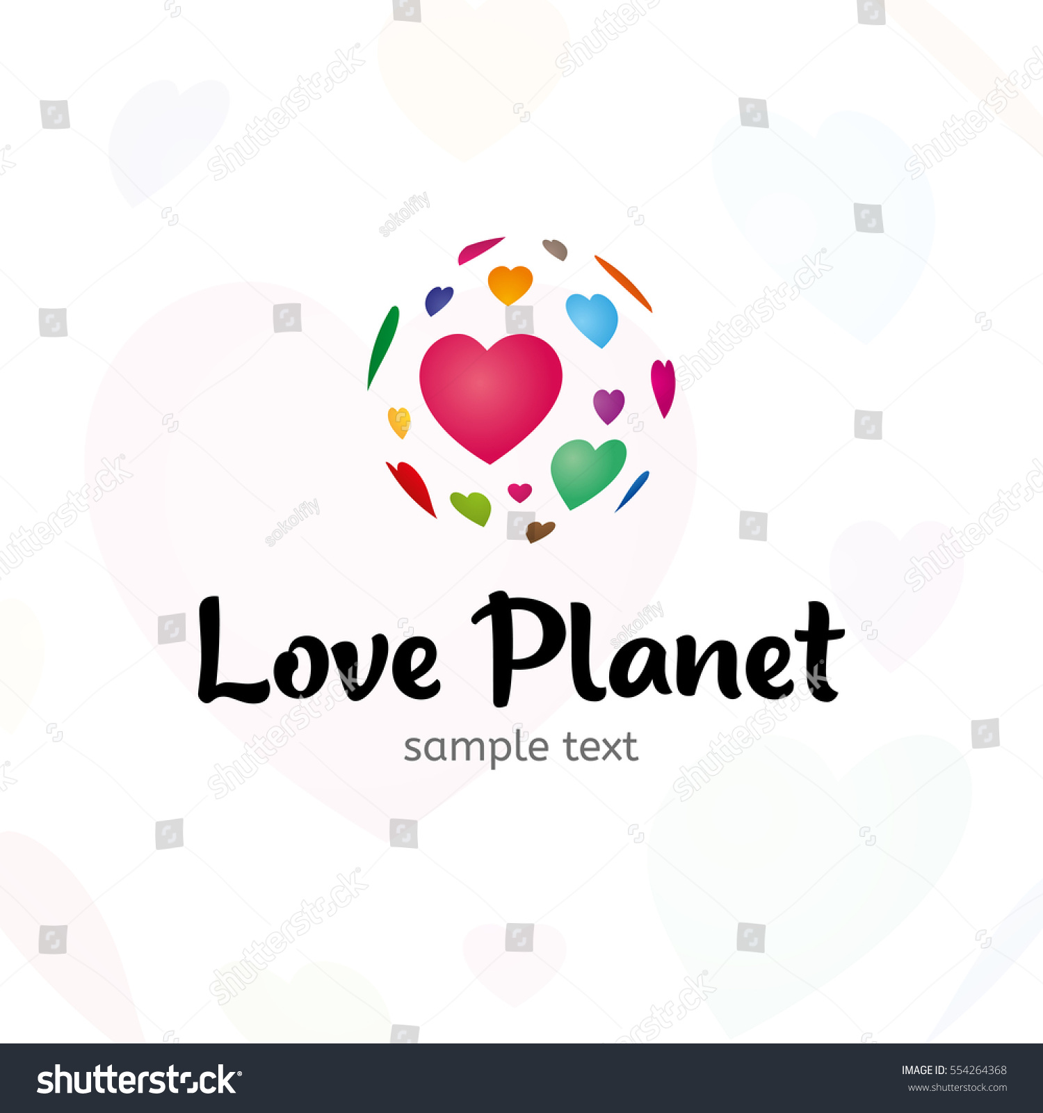 Love Planet Logo Vector Template Heart Stock Vector Royalty Free
