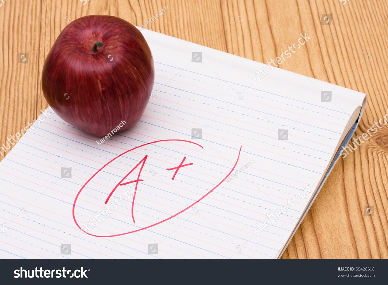 apple on piece paper grade on stock photo 55428508 shutterstock an apple on a piece of paper a grade on it good grades