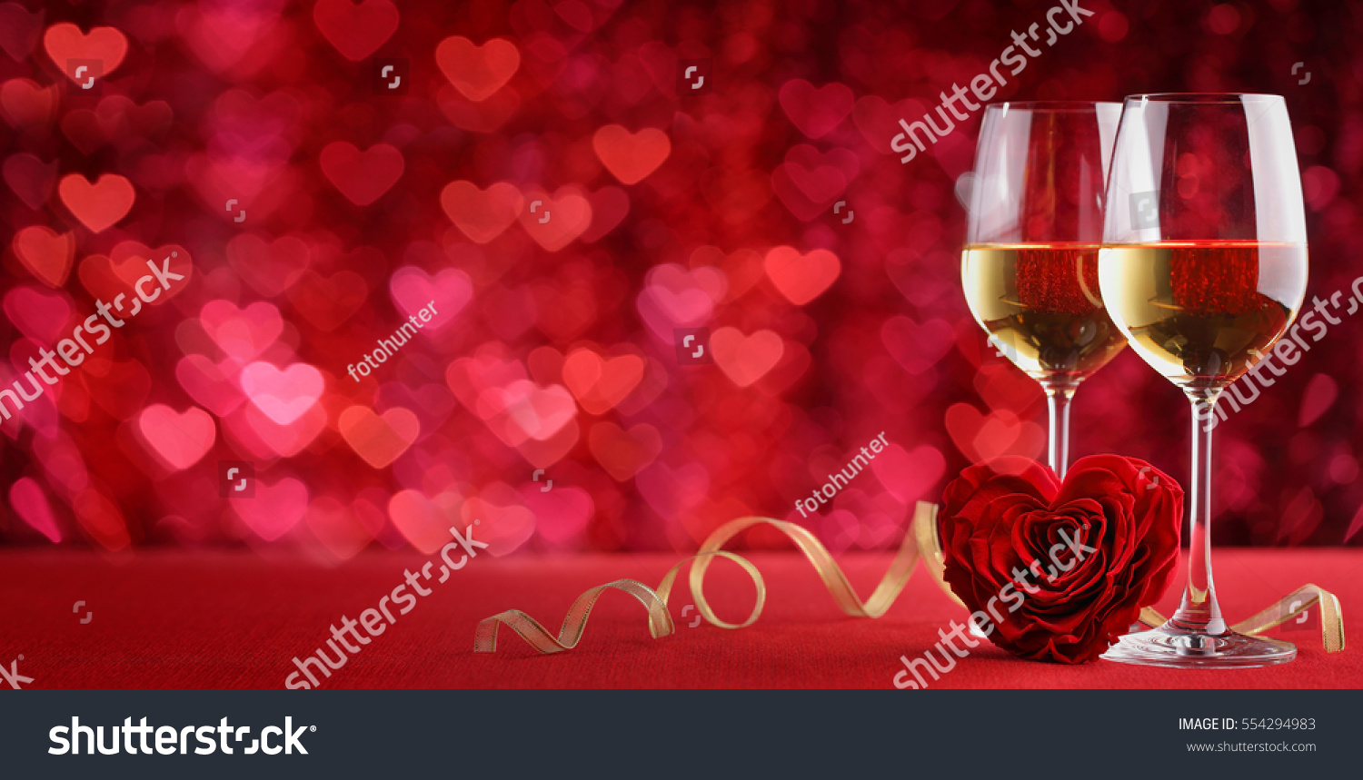 Valentines wine and rose,heart background