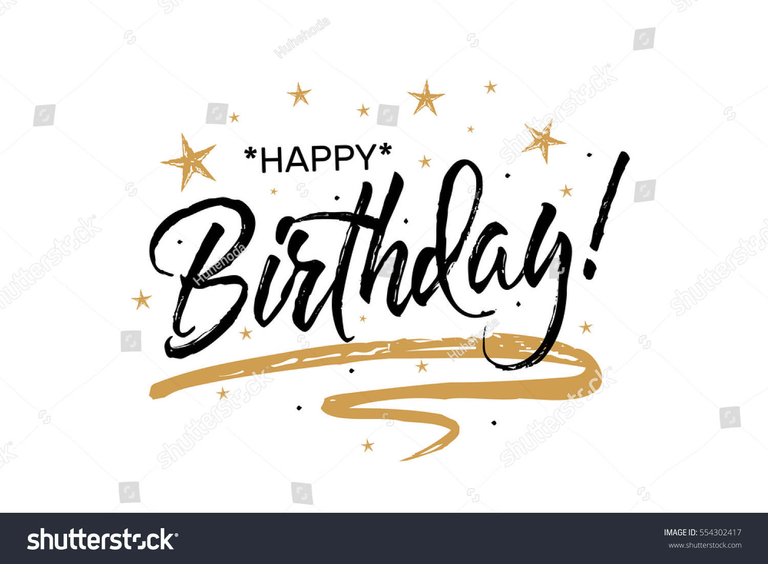 happy birthday you lettering gold frame stock vector happy birthdaybeautiful greeting card scratched 146