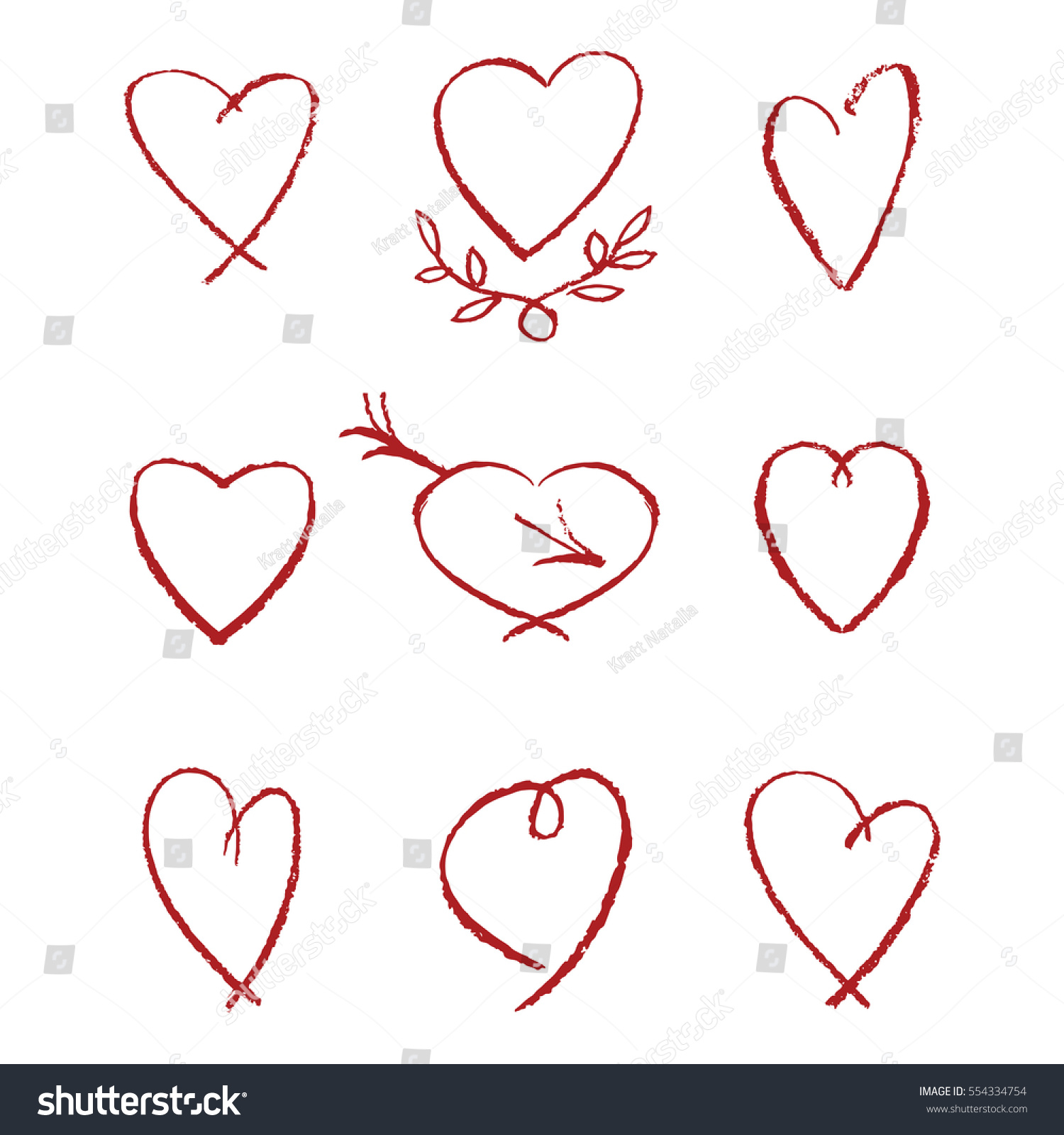 Collection Hand Drawn Hearts Made Pastel Stock Vector 2018