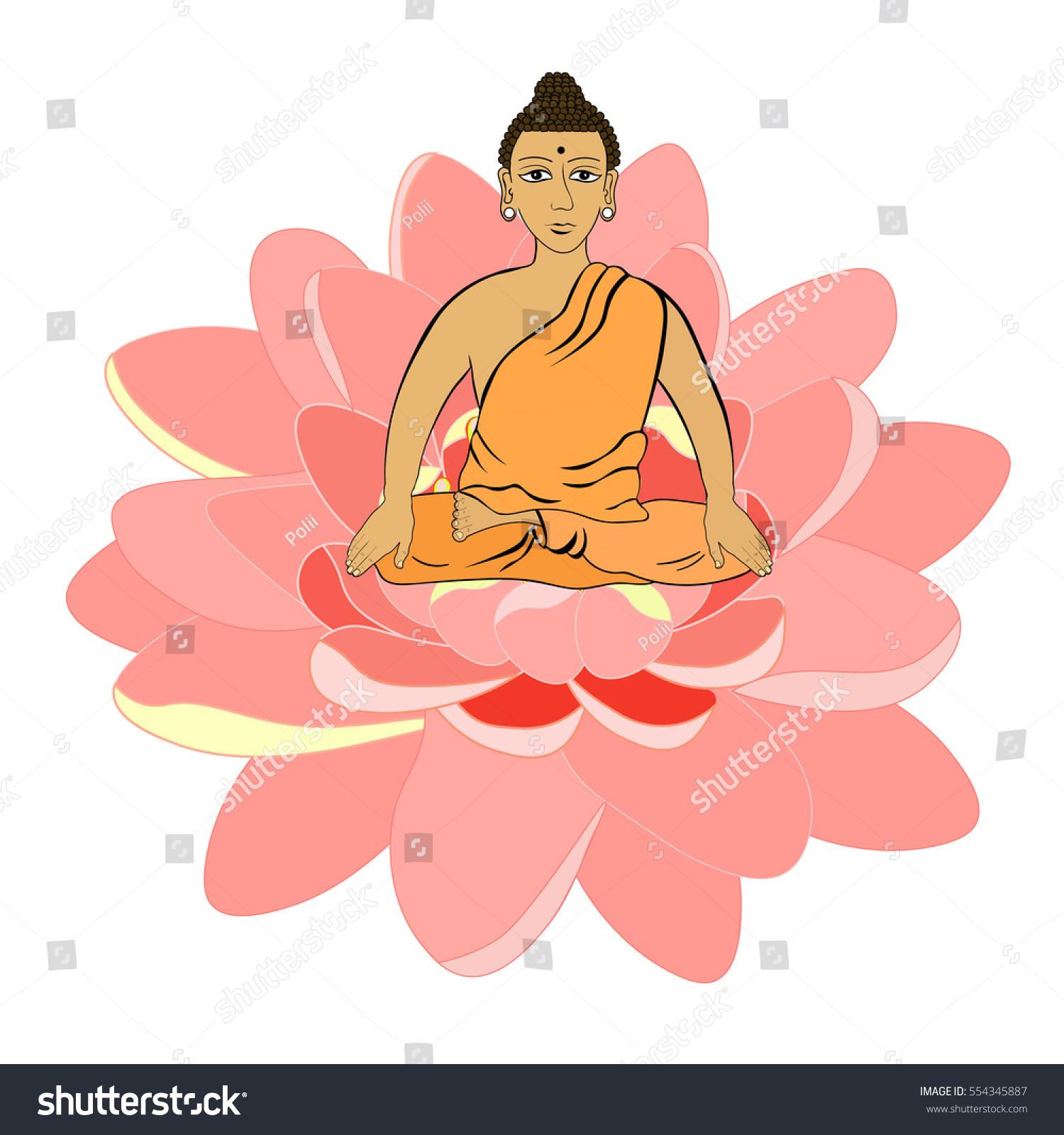 Buddha Sitting Flower Lotus Indian Meditation Stock Vector 554345887