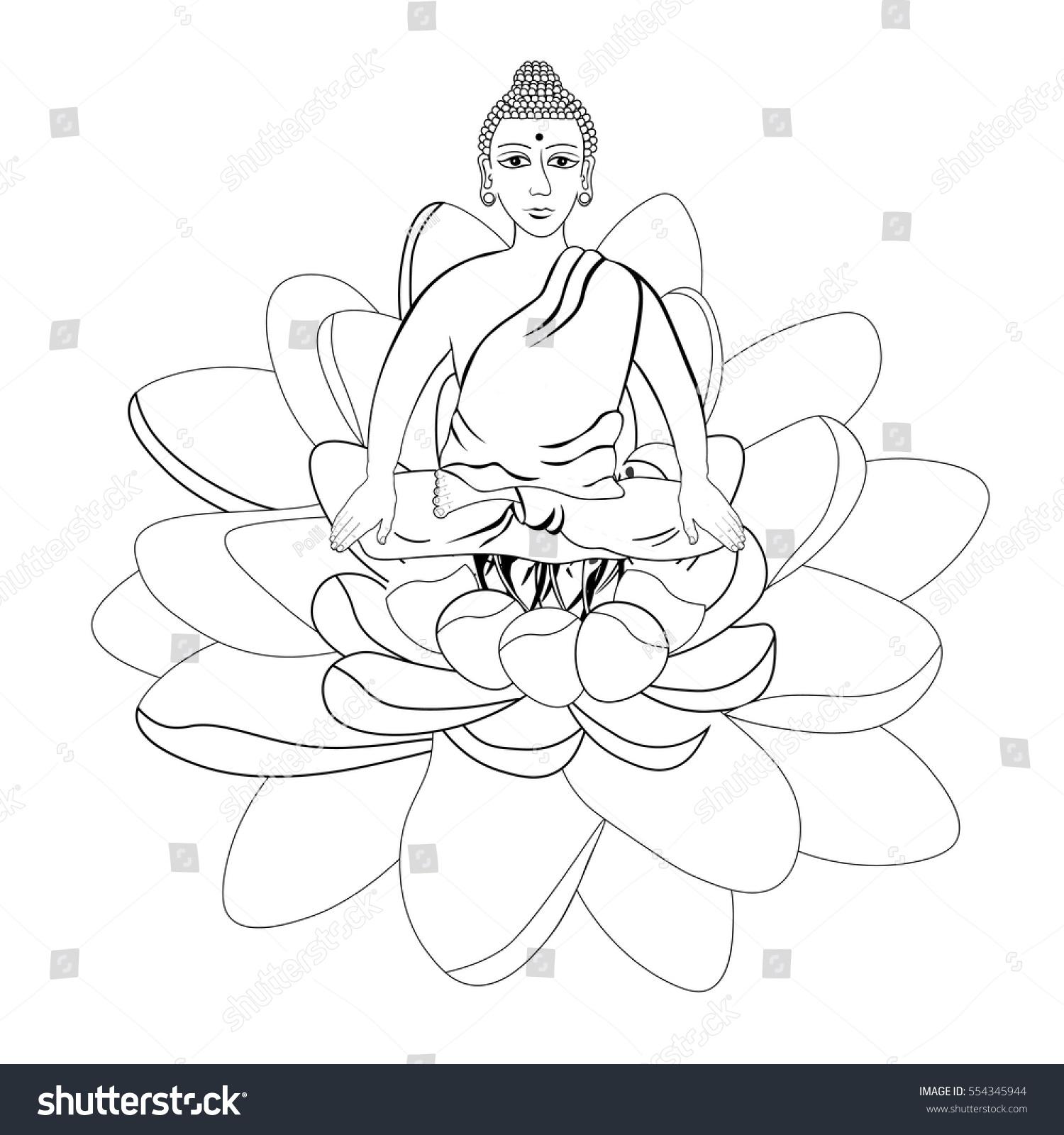 Buddha Sitting Lotus Flower Indian Meditation Stock Vector Royalty