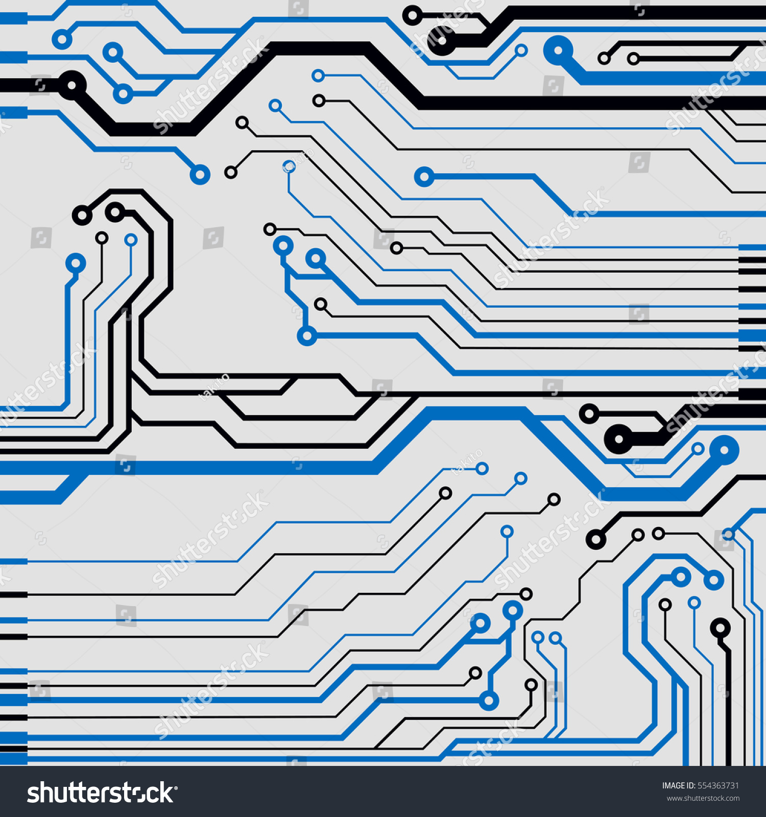 Vector Circuit Board Illustration Colorful Flat Stock