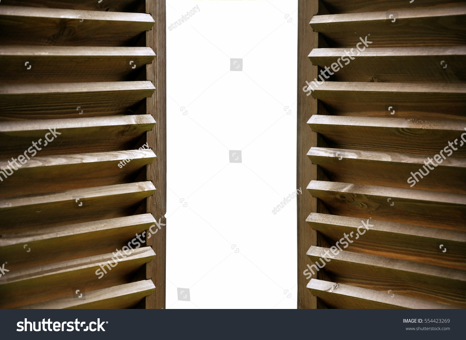 Wood Shutters Closed : Semiopen dark wooden shutters closeup isolated stock photo