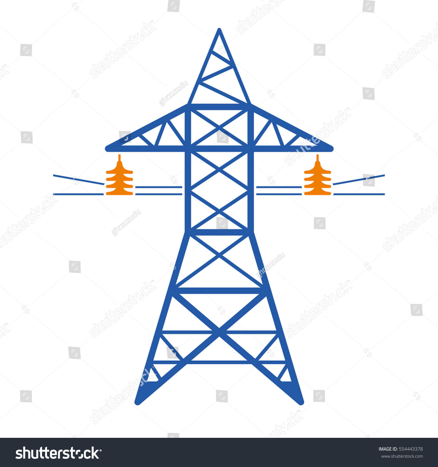high voltage power line transmission tower stock vector