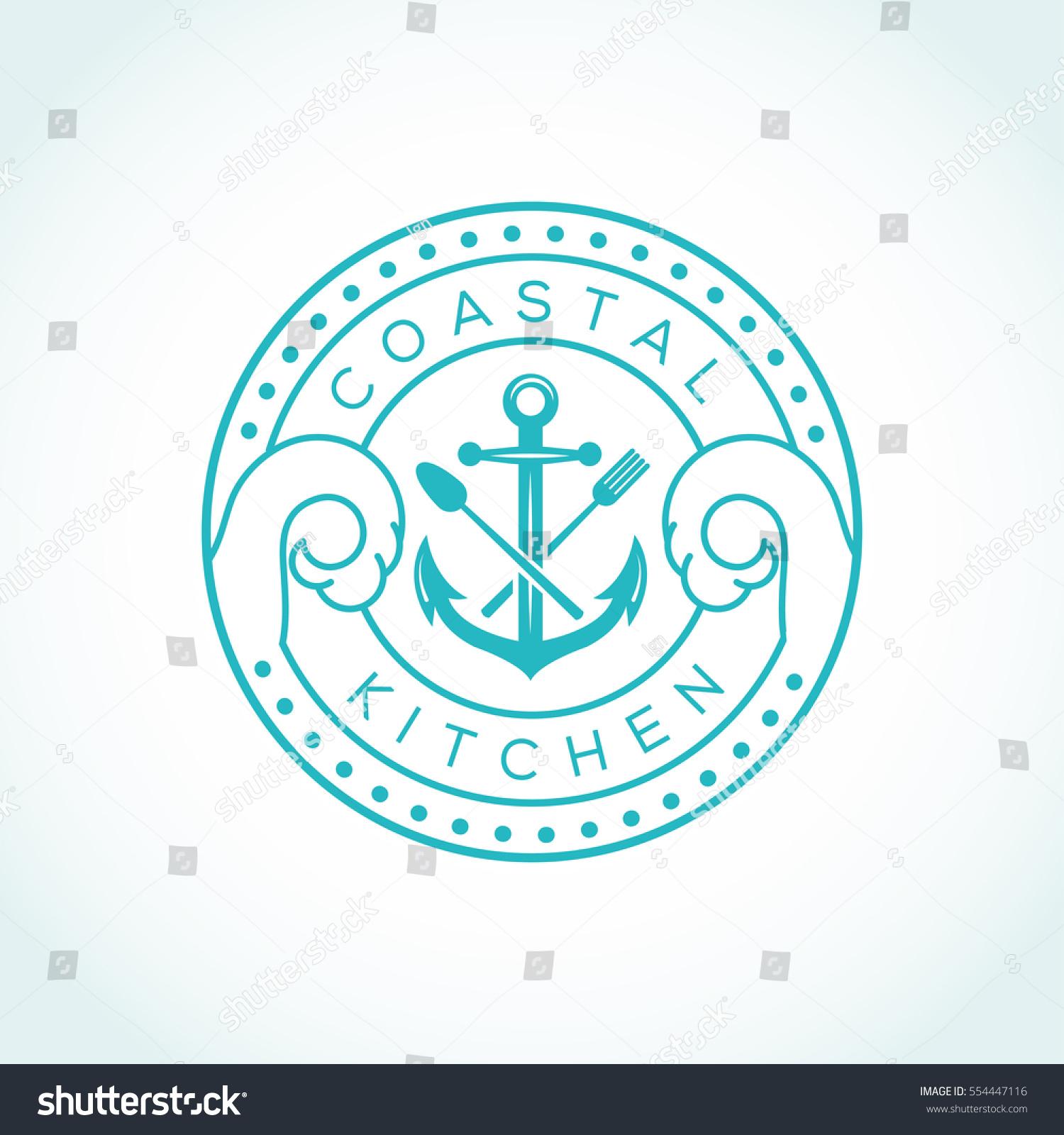 Anchor Fork Knife Vector Logo Design Stock Vector (Royalty Free ...