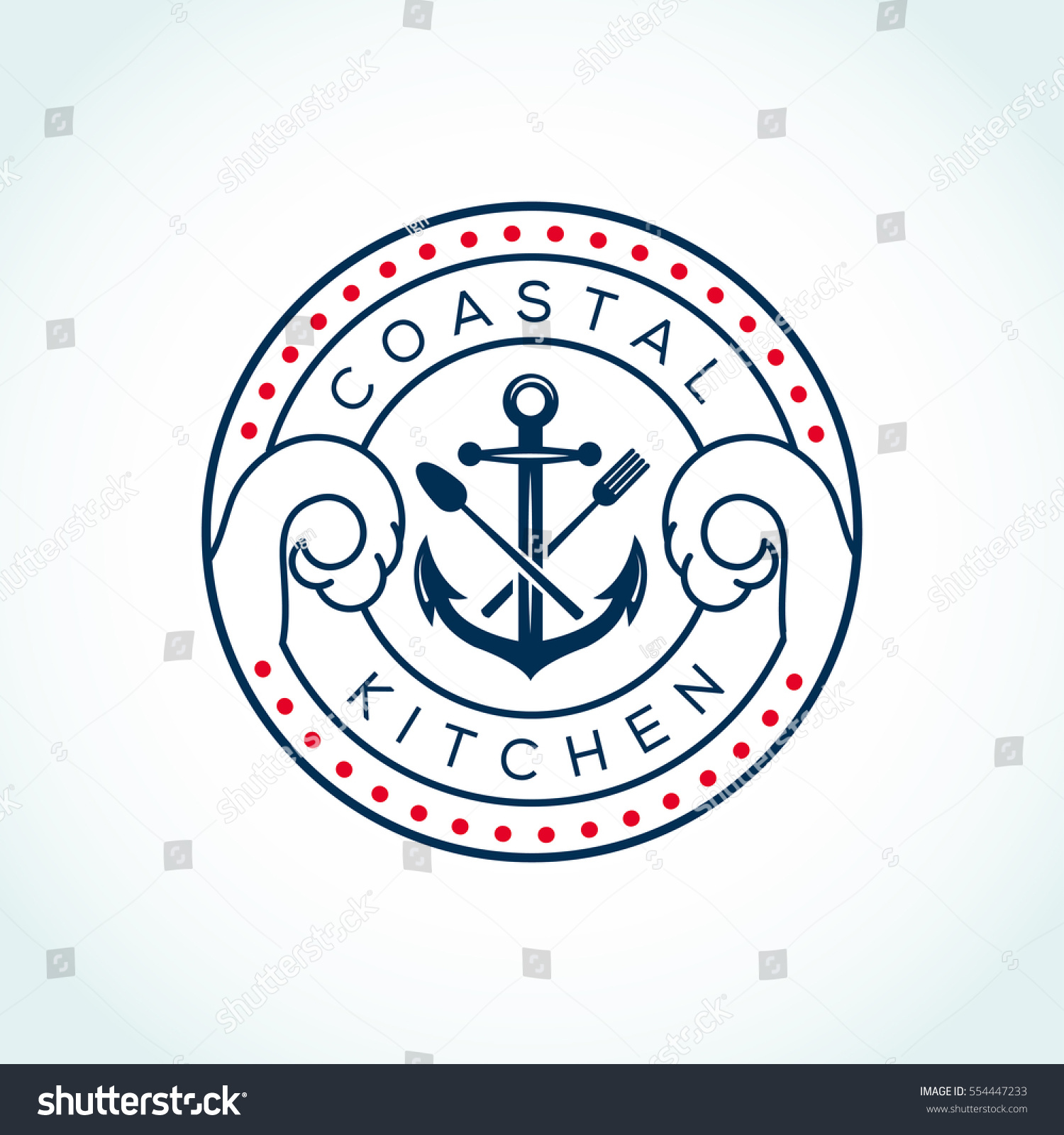 Vector Sea Food Label With Fork And Knife: Anchor Fork Knife Vector Logo Design Stock Vector