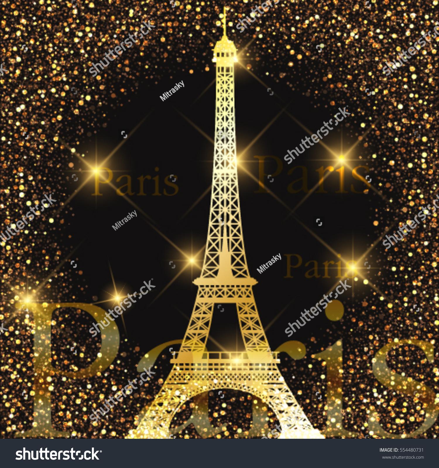 eiffel tower vector gold eiffel tower stock vector 554480731