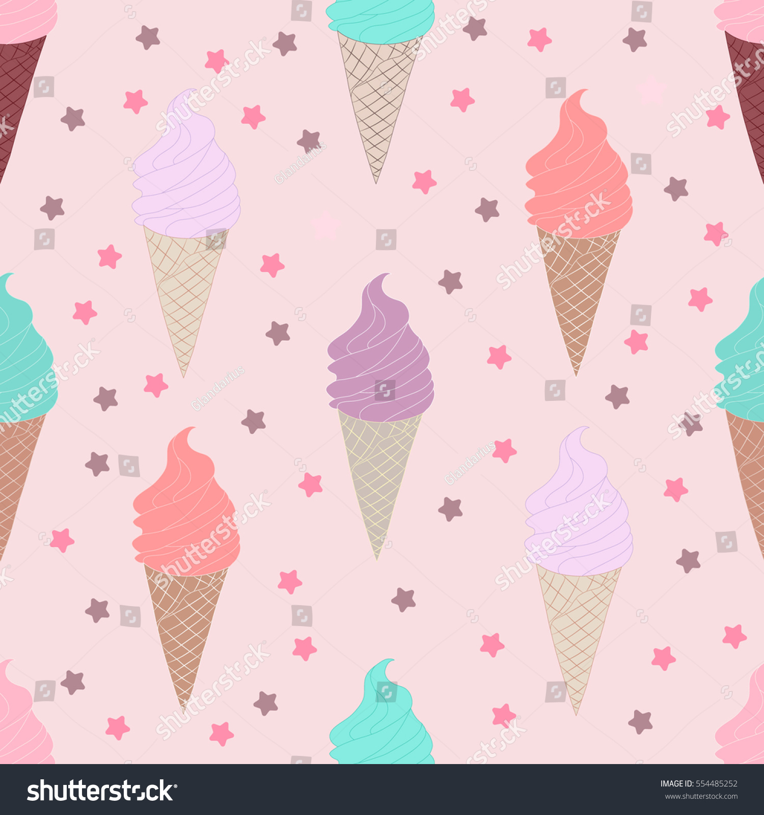 Seamless Ice Cream Background: Seamless Pattern Ice Cream Cone On Stock Vector 554485252