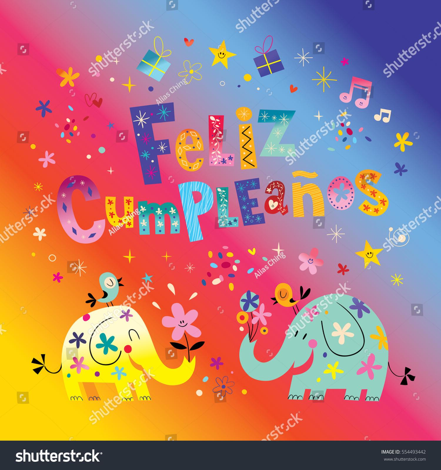 New happy birthday cards in spanish pictures eccleshallfc feliz cumpleanos happy birthday spanish greeting stock vector bookmarktalkfo Images