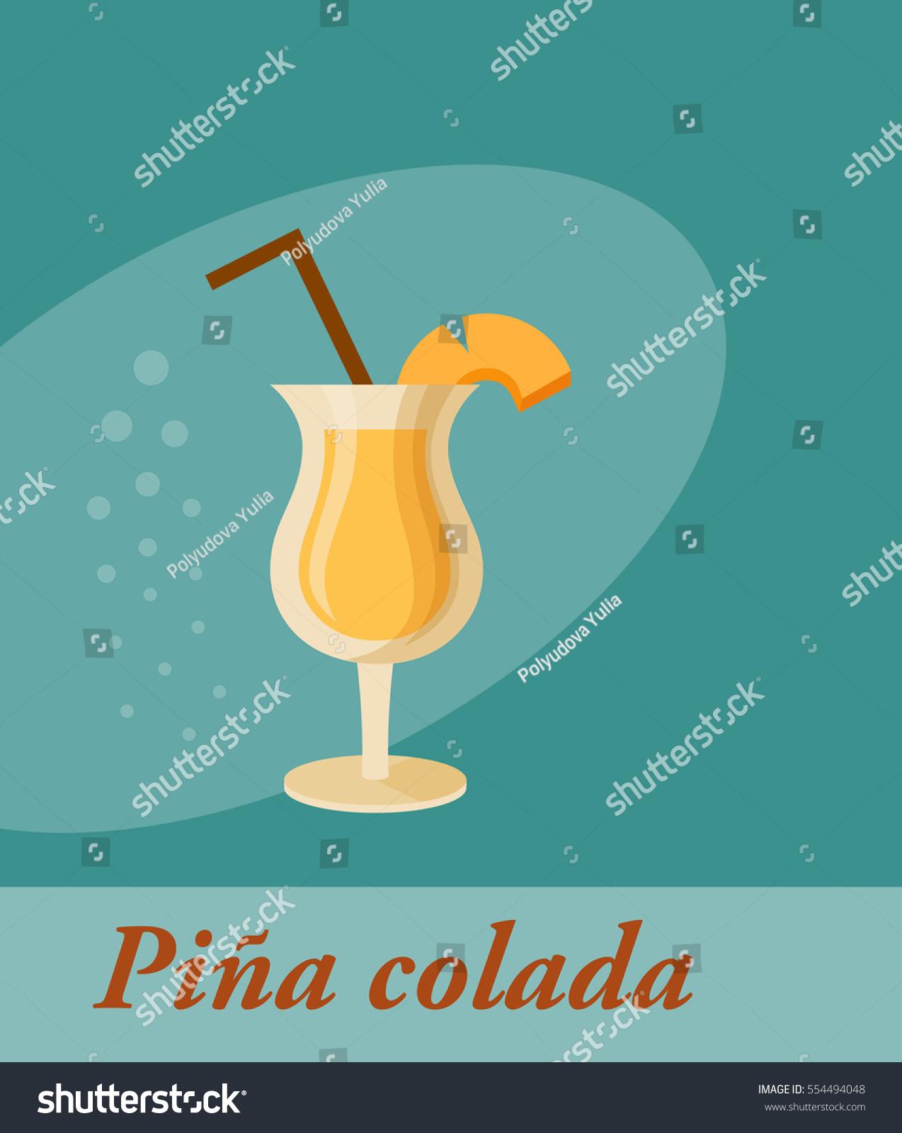 Pina Design pina colada cocktail menu item any stock vector 554494048