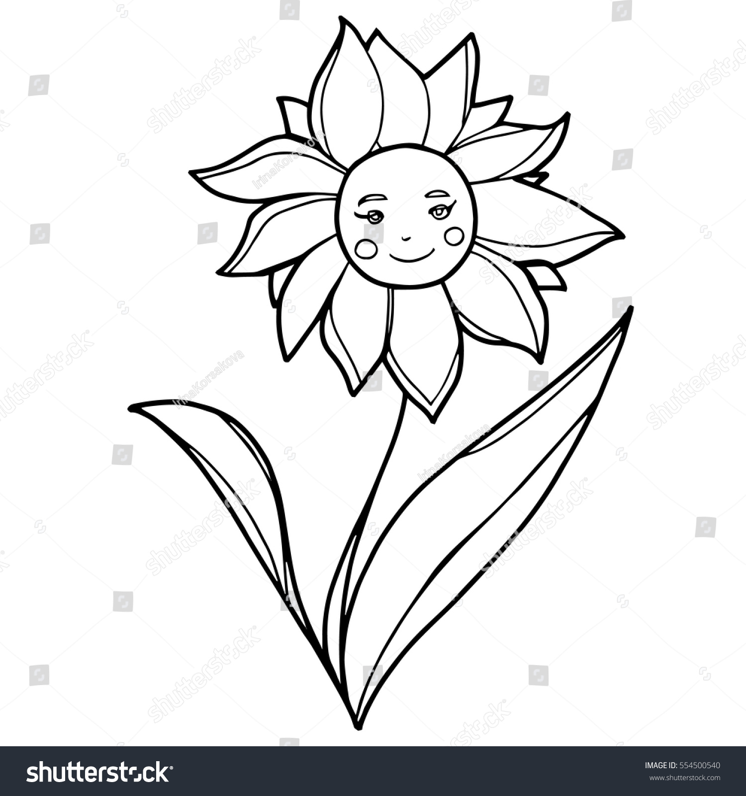 Hand drawn flower smiley face petals stock vector 554500540 hand drawn flower with smiley face petals and leaves for kids prints clothes izmirmasajfo
