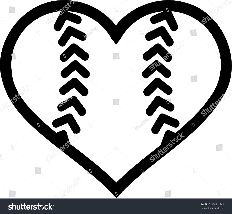 Softball Ball Heart Stock Vector 554511391
