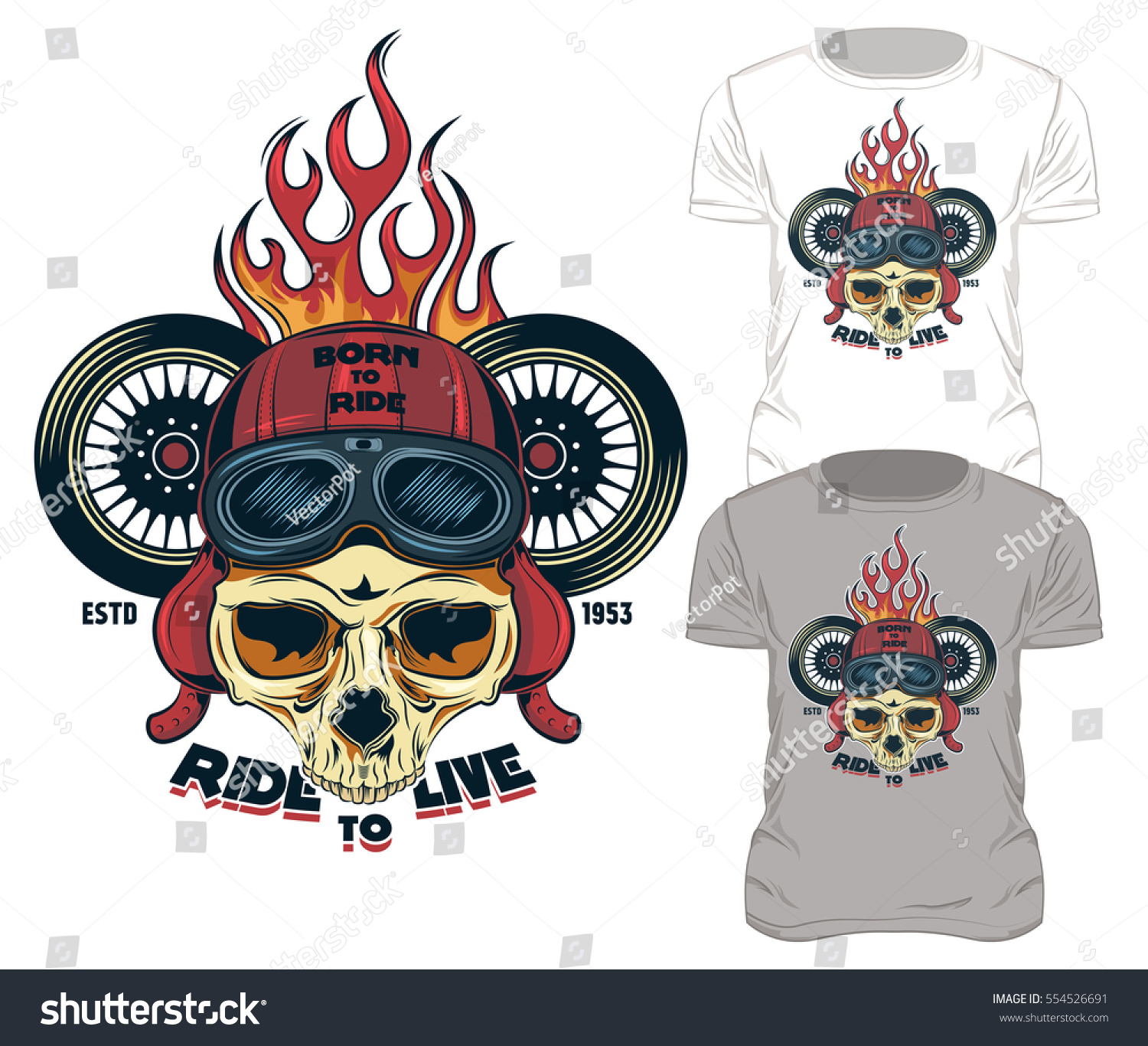 Fire Print Skull Tshirt Design Old Stock Vector Royalty Free