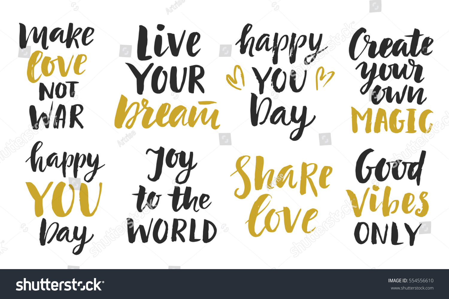 Inspirational Phrases Trendy Inspirational Phrases Collection Handwritten Lettering
