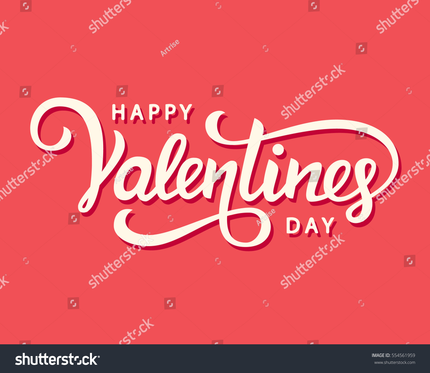 Happy Valentines Day romantic greeting card, typography poster with modern calligraphy. Retro vintage style. Vector Illustration #554561959