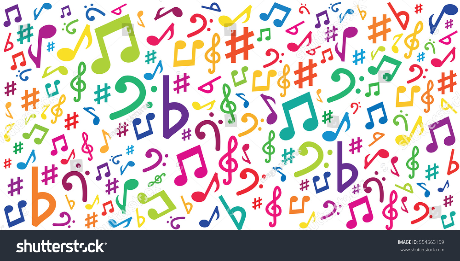 Vector illustration horizontal banner colorful musical stock vector illustration of horizontal banner with colorful musical notes and symbols for audio media concepts and biocorpaavc Image collections