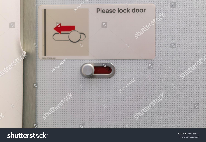 please lock door. Airplane Lavatory Lock Door Please L
