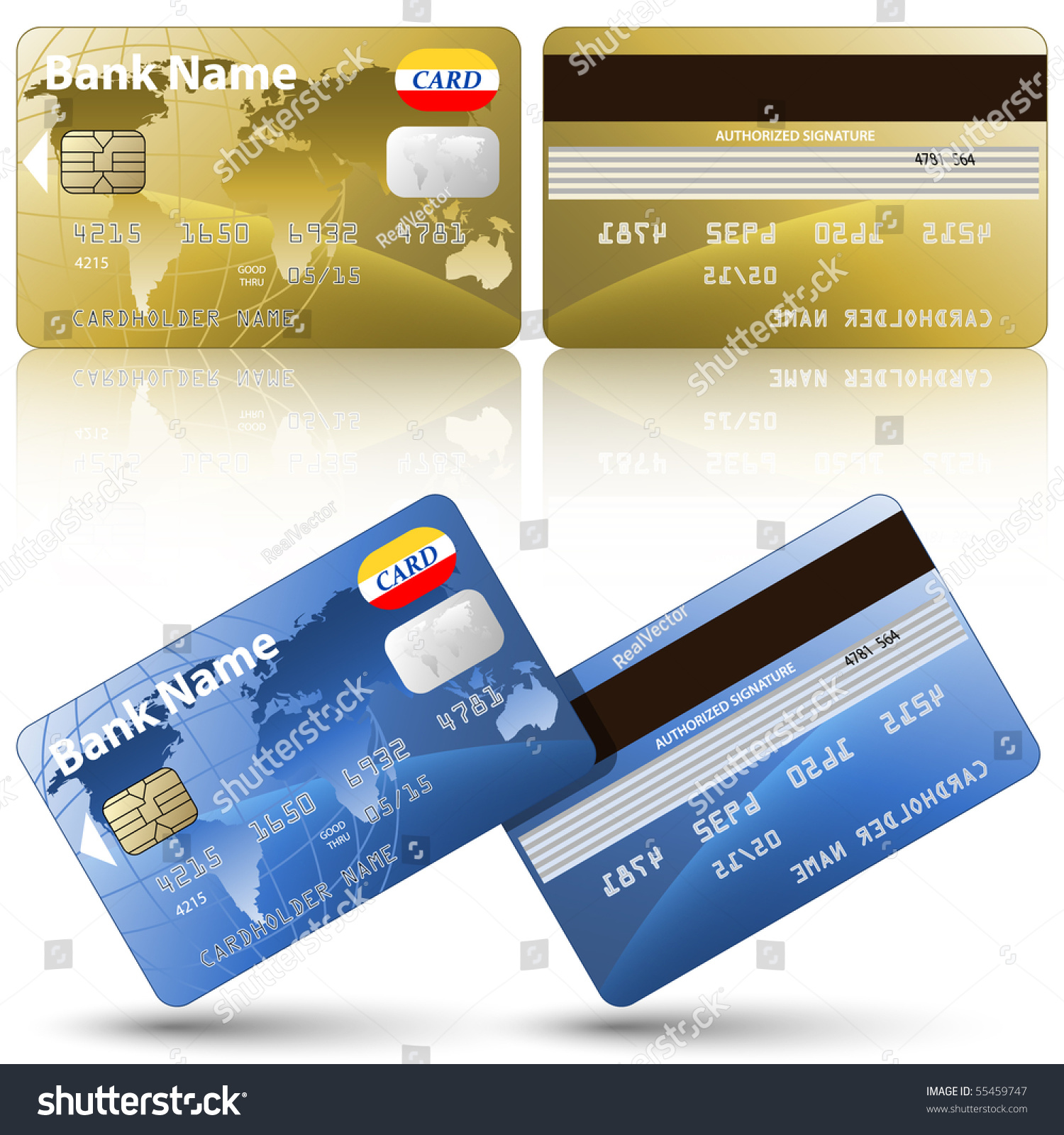 vector credit cards front back view stock vector