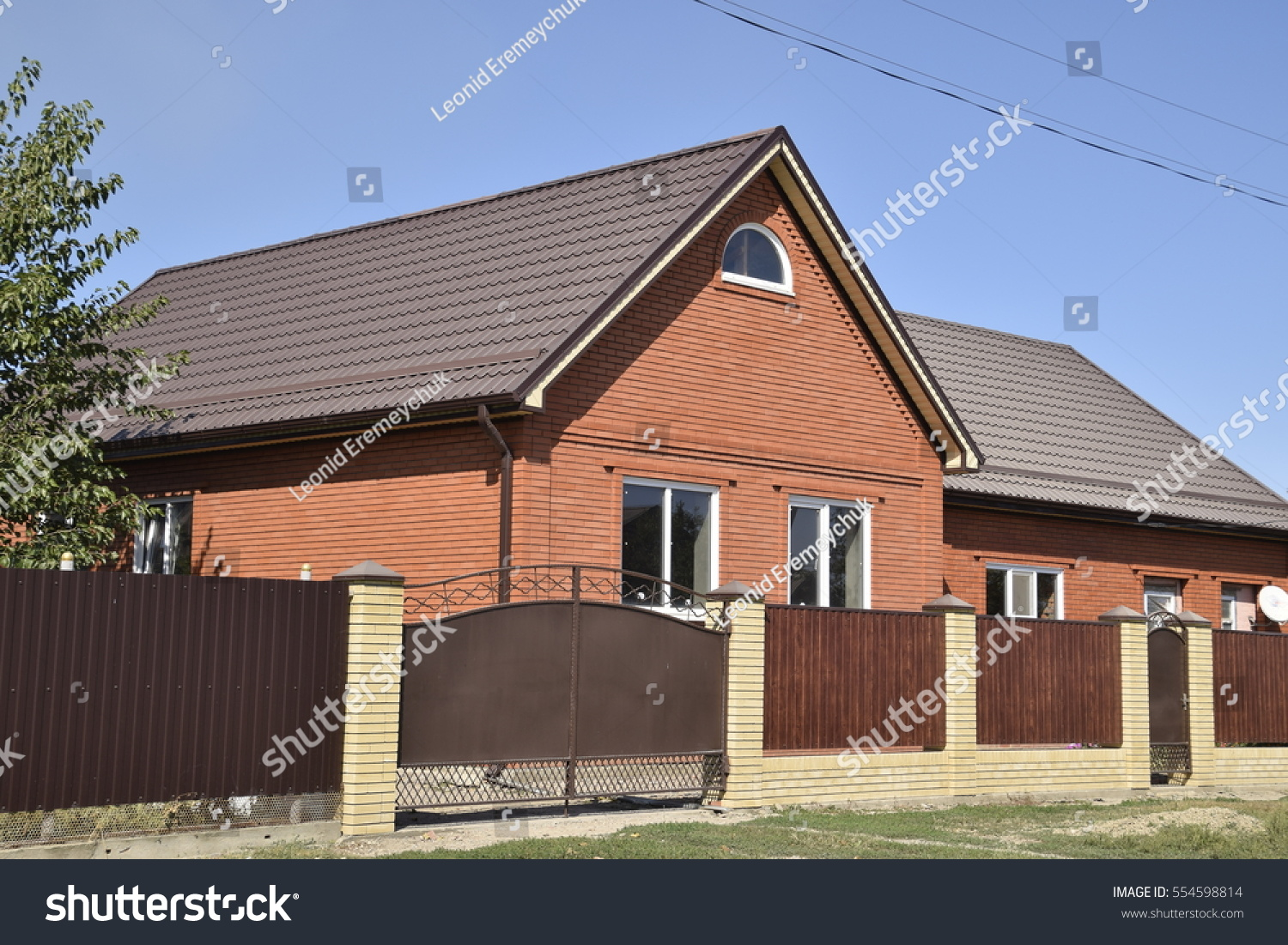 Detached house roof made steel sheets stock photo for Modern roofing materials