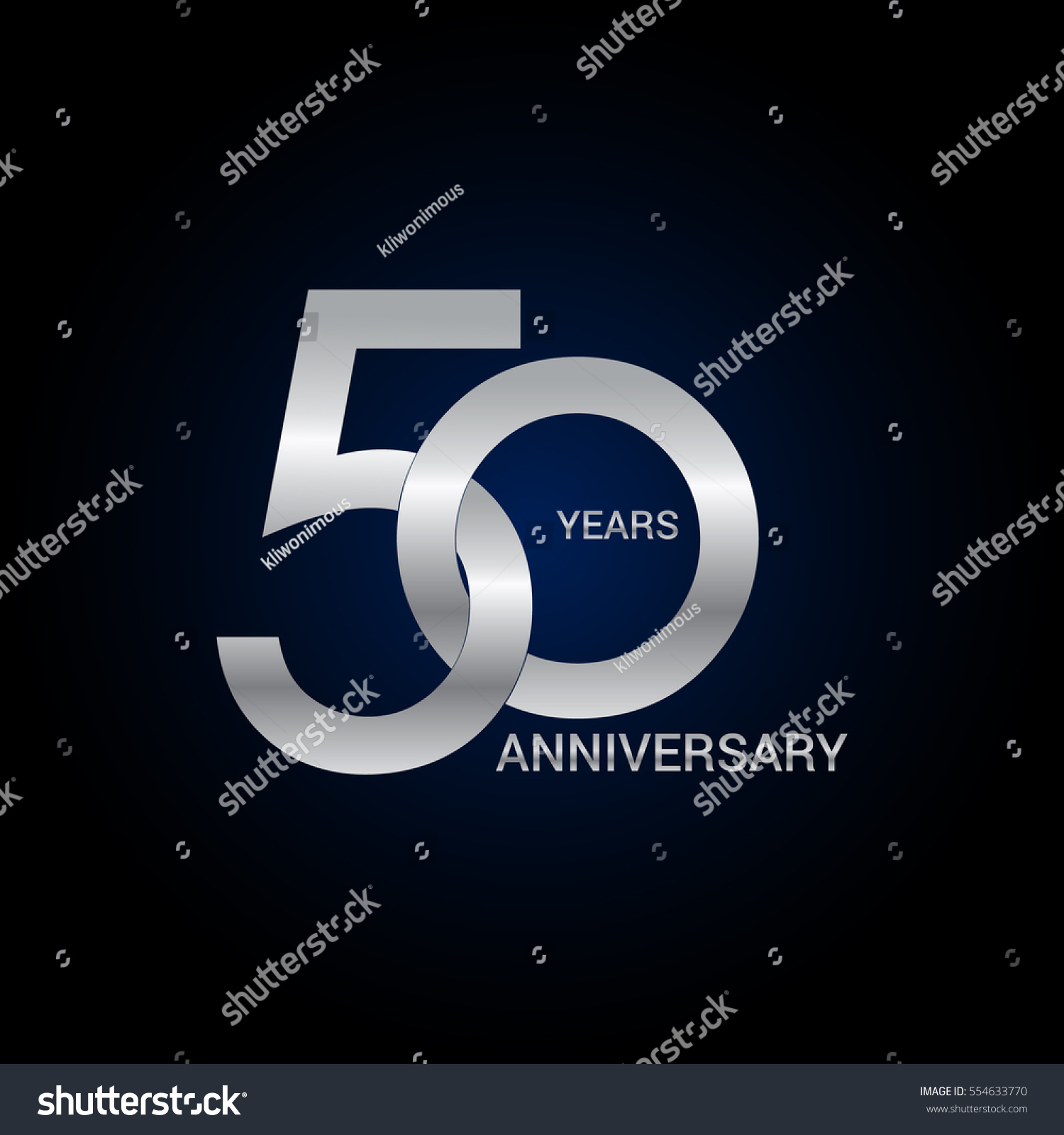 50 Years Anniversary Silver Signs Symbols Simple Logo Design