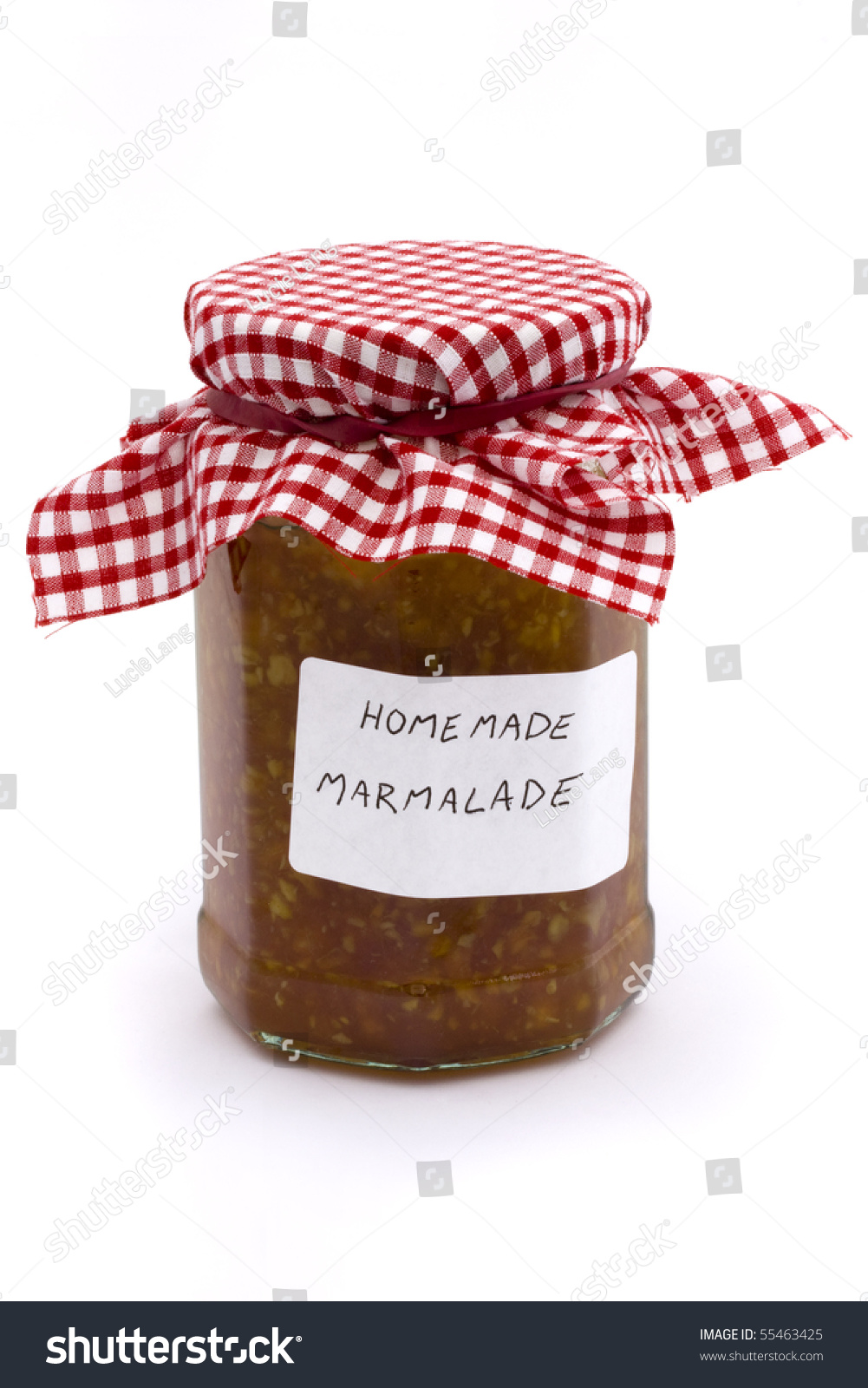 jar of homemade marmalade on a white background