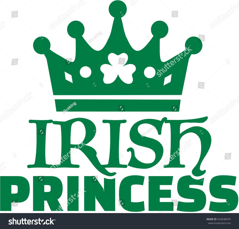 irish princess green shamrock crown stock vector 554636074