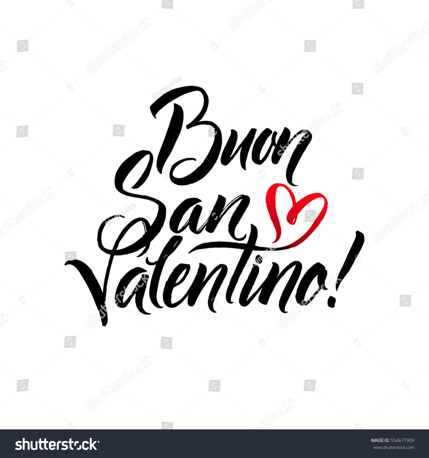 Happy valentines day italian black red stock vector 554677909 italian black and red lettering greeting card white background hand drawn kristyandbryce Images