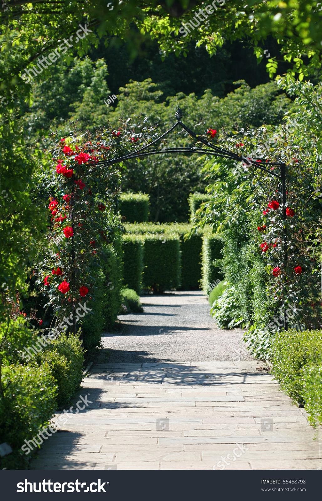 Garden Pathway garden pathway rose arch stock photo 55468798 - shutterstock