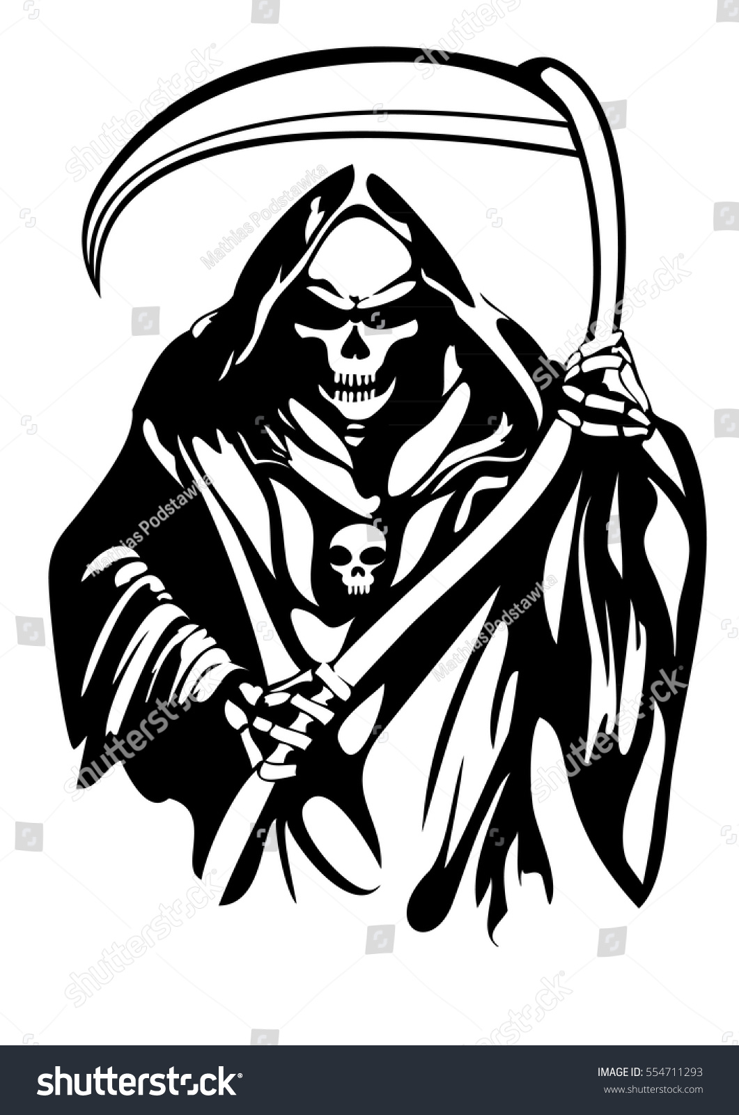 Royalty Free Grim Reaper Vector Tattoo 554711293 Stock Photo