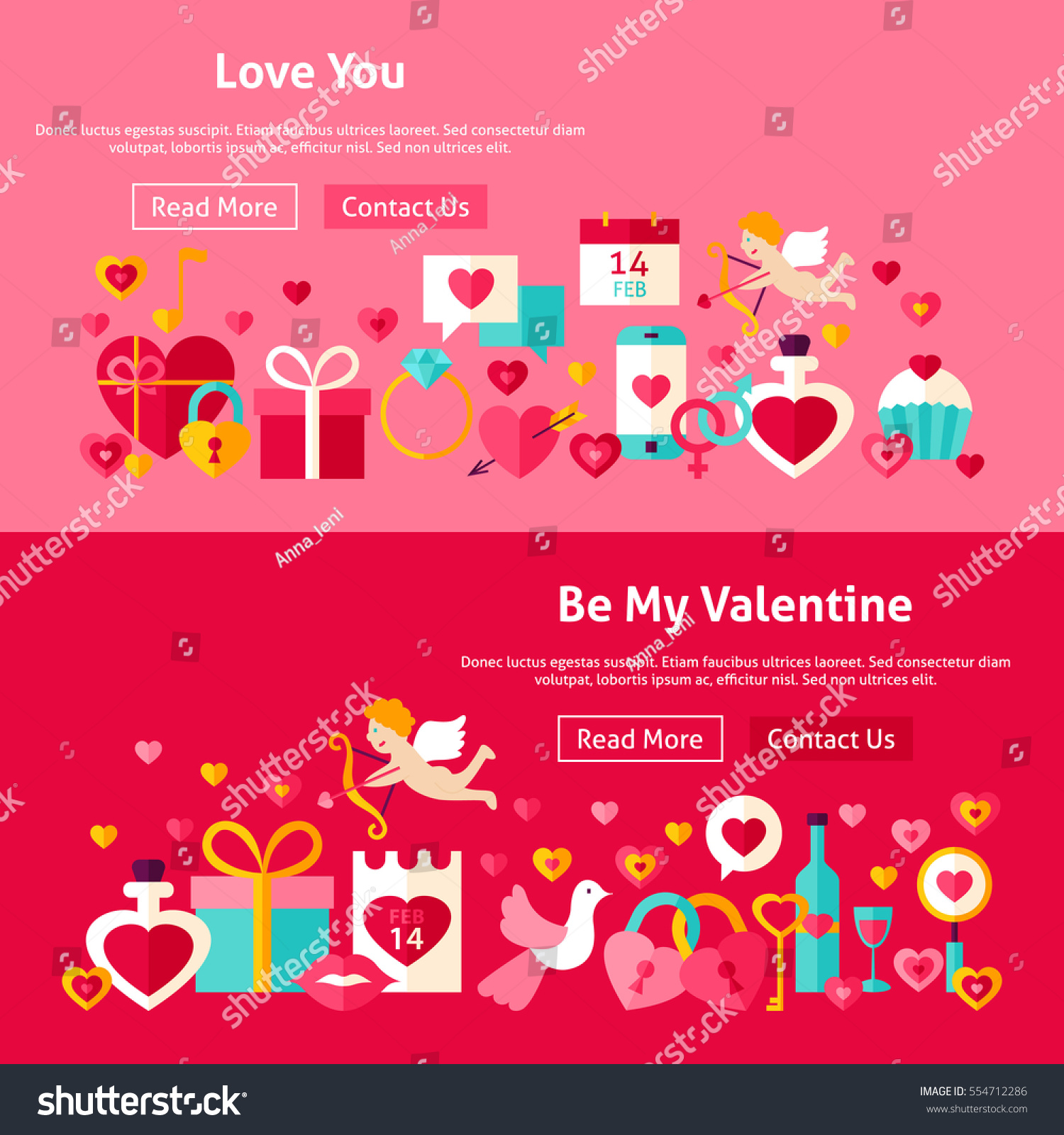 valentine day website banners vector illustration stock vector, Ideas