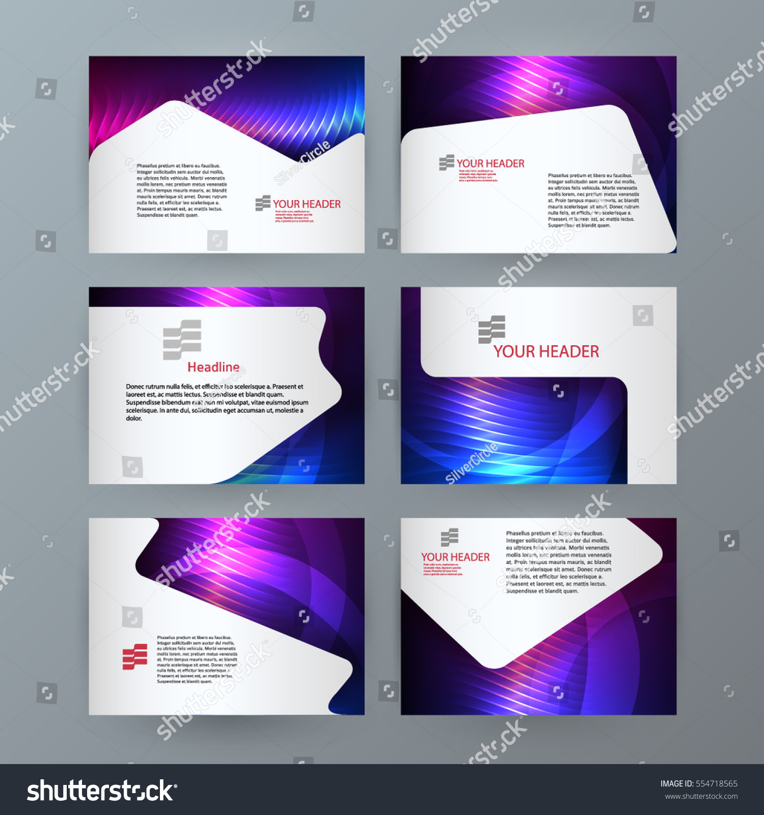 Design elements presentation template set horizontal stock vector design elements presentation template set horizontal banners background neon northern light glow effect vector reheart Images