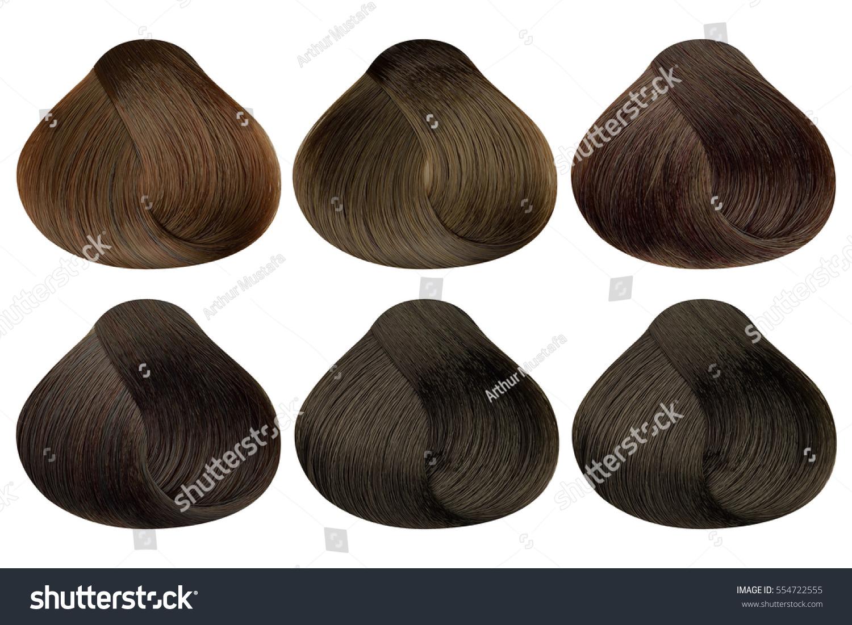 Set Locks Six Different Brown Hair Stock Photo Edit Now 554722555