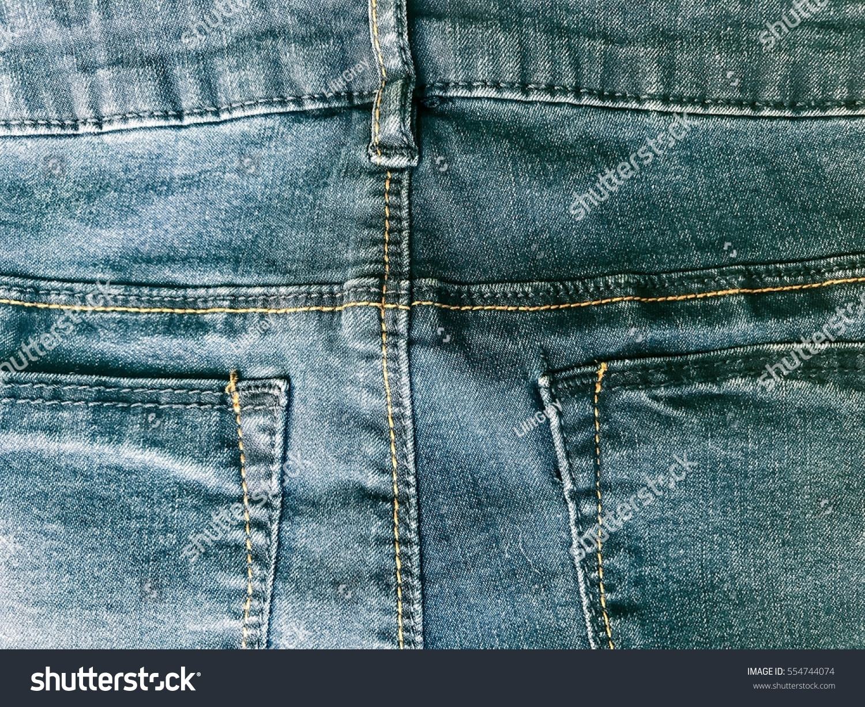 Beautiful Blue Denim Jeans Back View 554744074