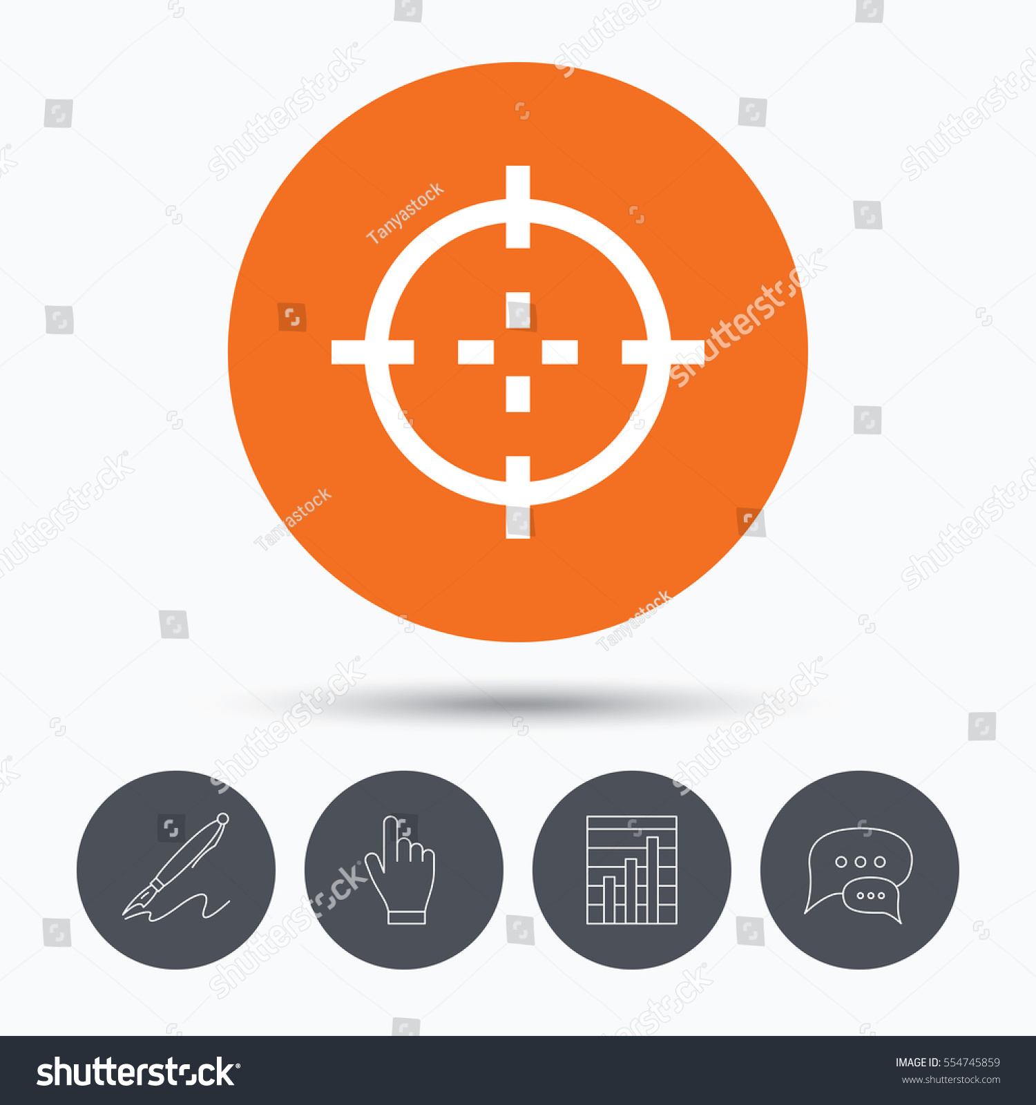 Target icon crosshair aim symbol speech stock illustration target icon crosshair aim symbol speech bubbles pen hand click and chart buycottarizona Image collections
