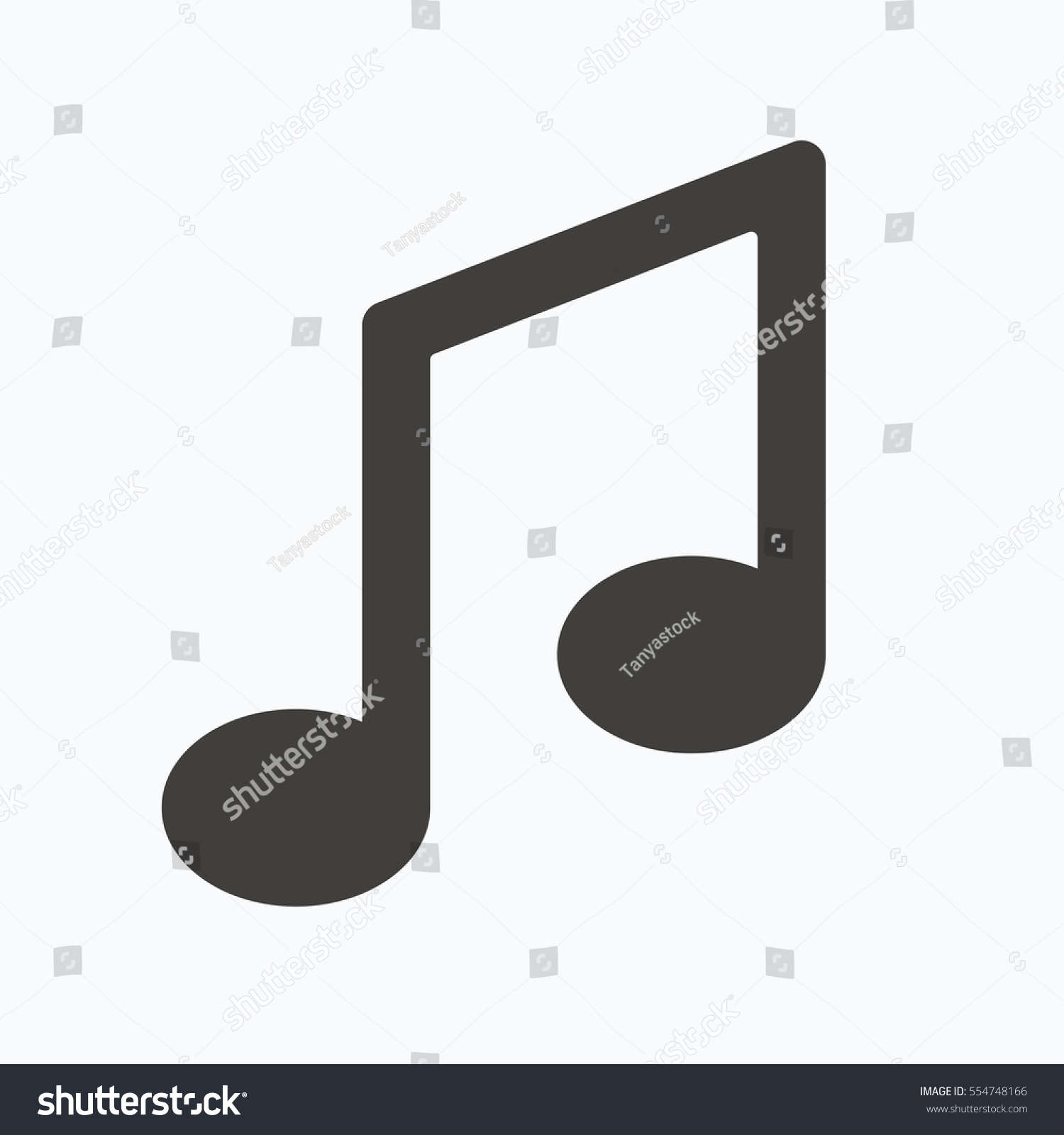 Music Icon Musical Note Sign Melody Symbol Gray Flat Web Icon On
