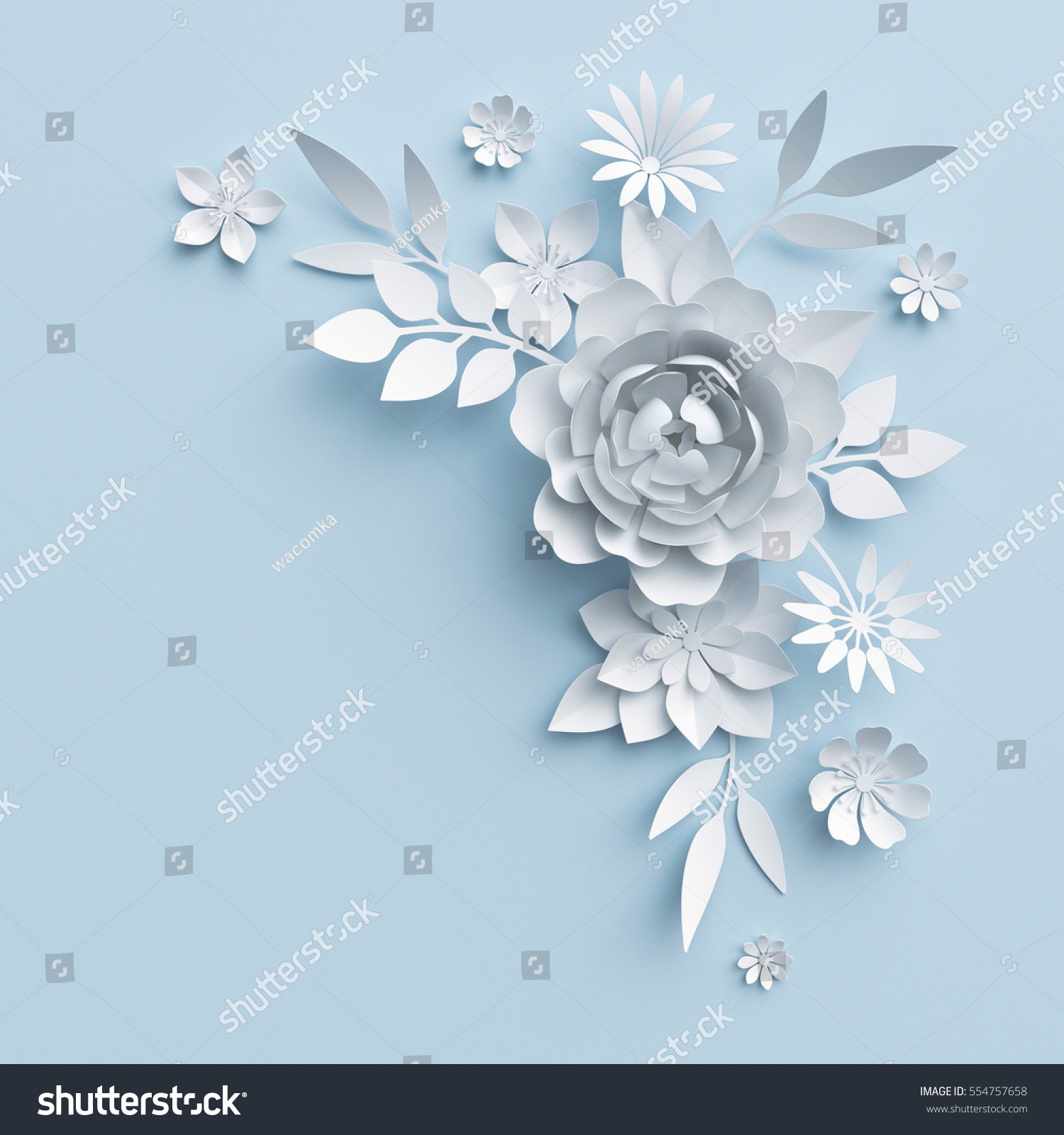 3 D Render Digital Illustration White Paper Stock Illustration