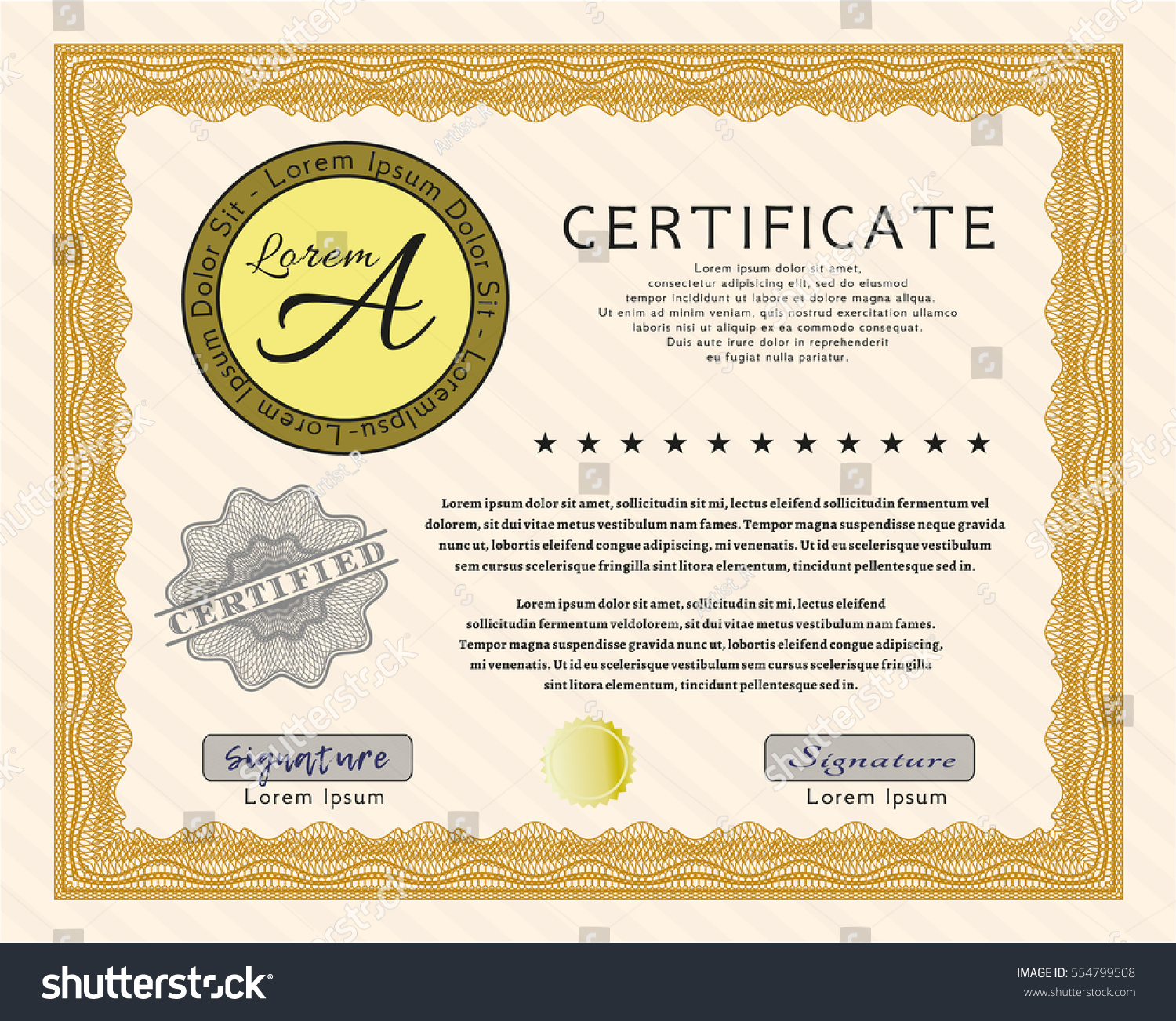 Orange Diploma Certificate Template Quality Background Stock Vector