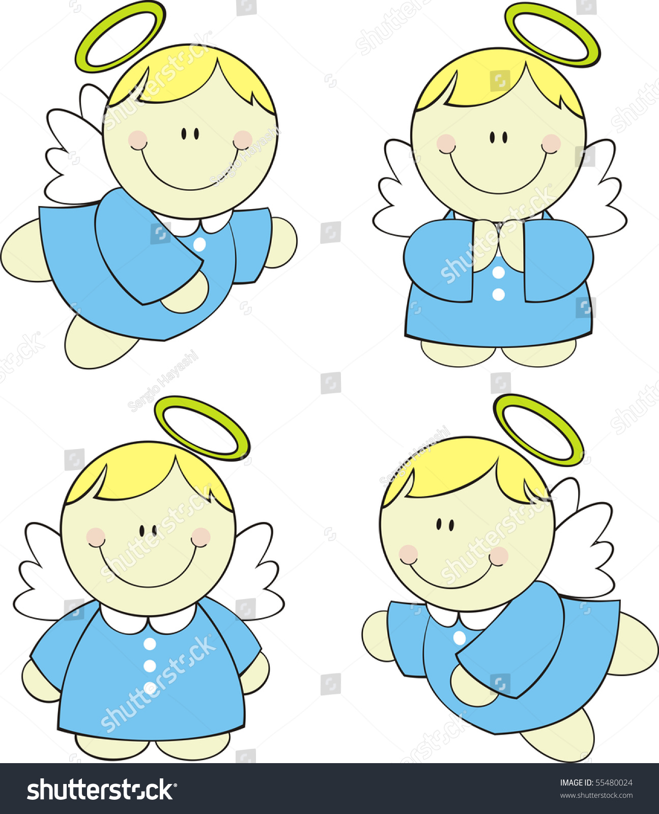 set isolated cute little angels vector stock vector 55480024