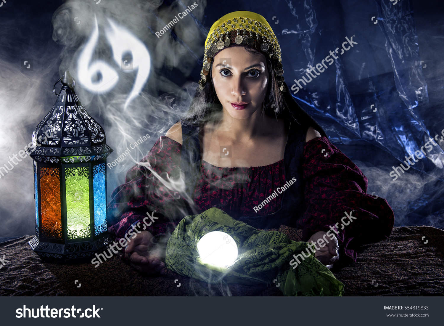 Psychic Fortune Teller Crystal Ball Horoscope Stock Photo (Edit Now