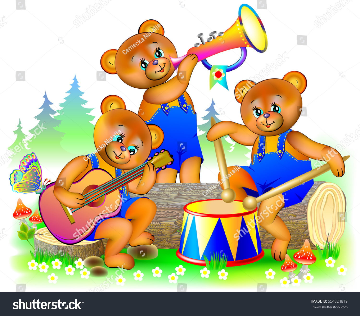 Uncategorized Three Little Bear illustration three little teddy bears playing stock vector of musical instruments in the orchestra cartoon image